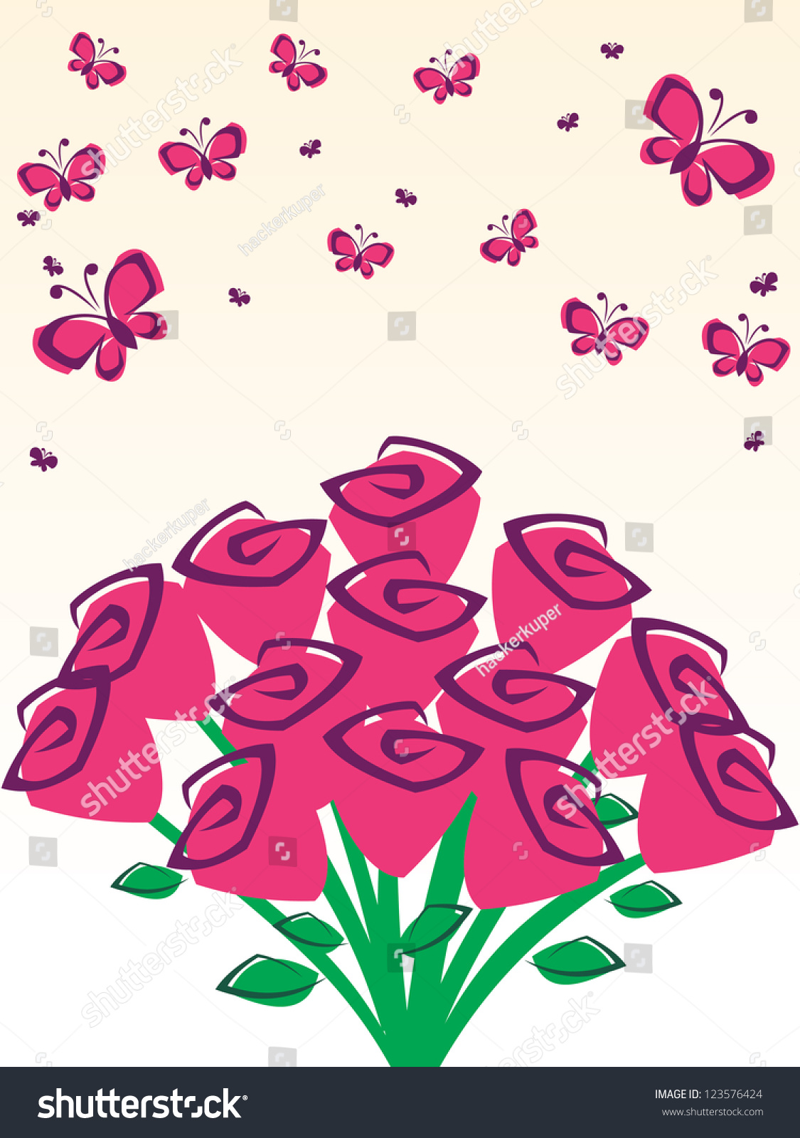 Best Wallpaper Butterfly Hand - stock-vector-vector-hand-drawn-pink-rose-flower-bouquet-wallpaper-background-with-butterfly-pattern-123576424  You Should Have_32758.jpg