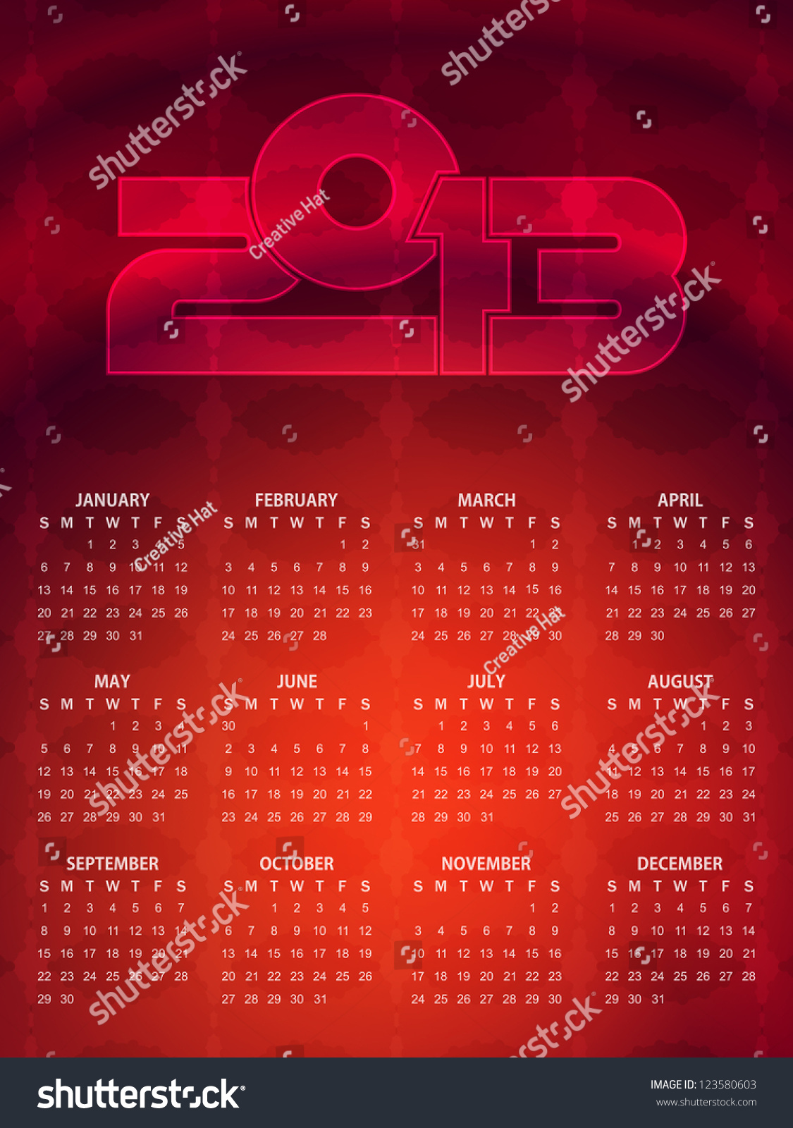 Beautiful Calendar Design : Beautiful calendar design in red color vector
