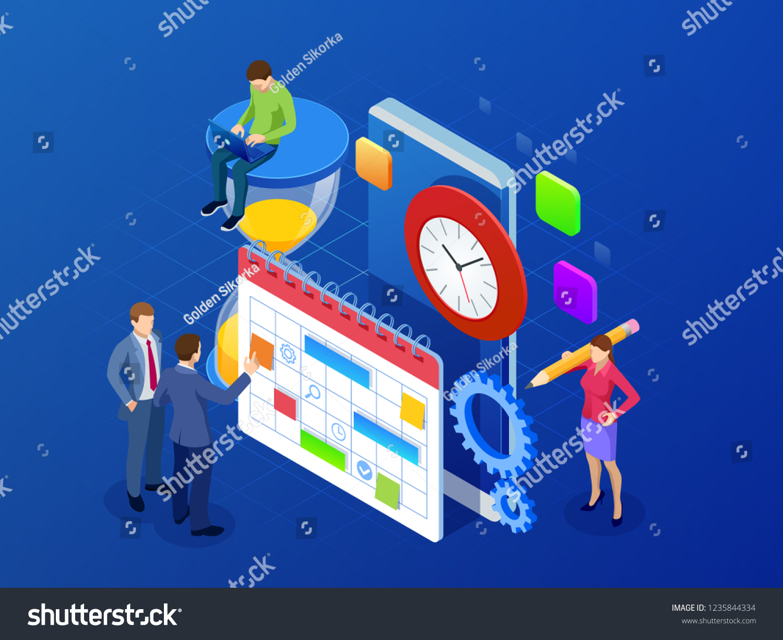 isometric weekly schedule calendar planner organization stock vector