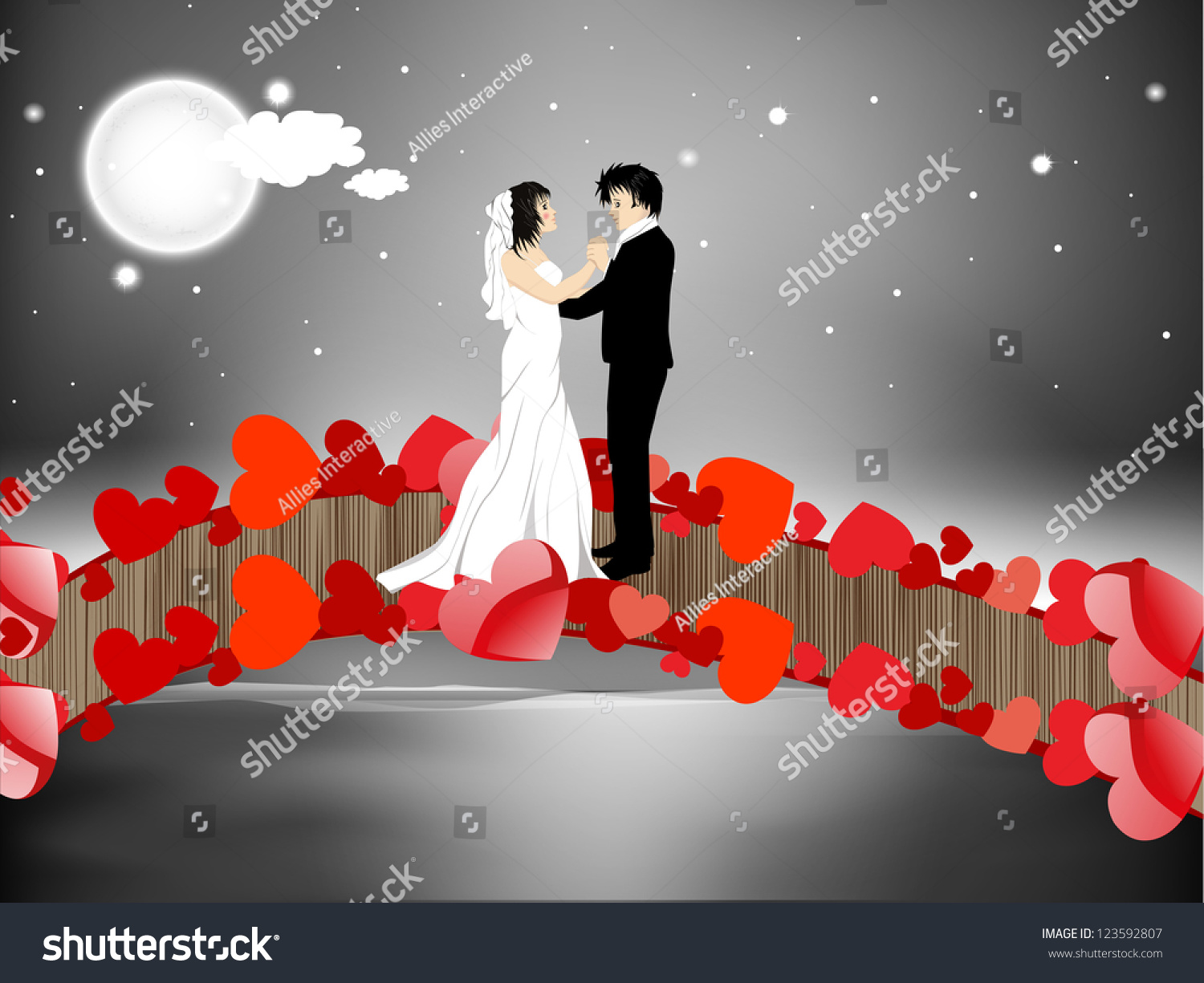 Valentines Day Night Background Newly Married Stock Vector Royalty