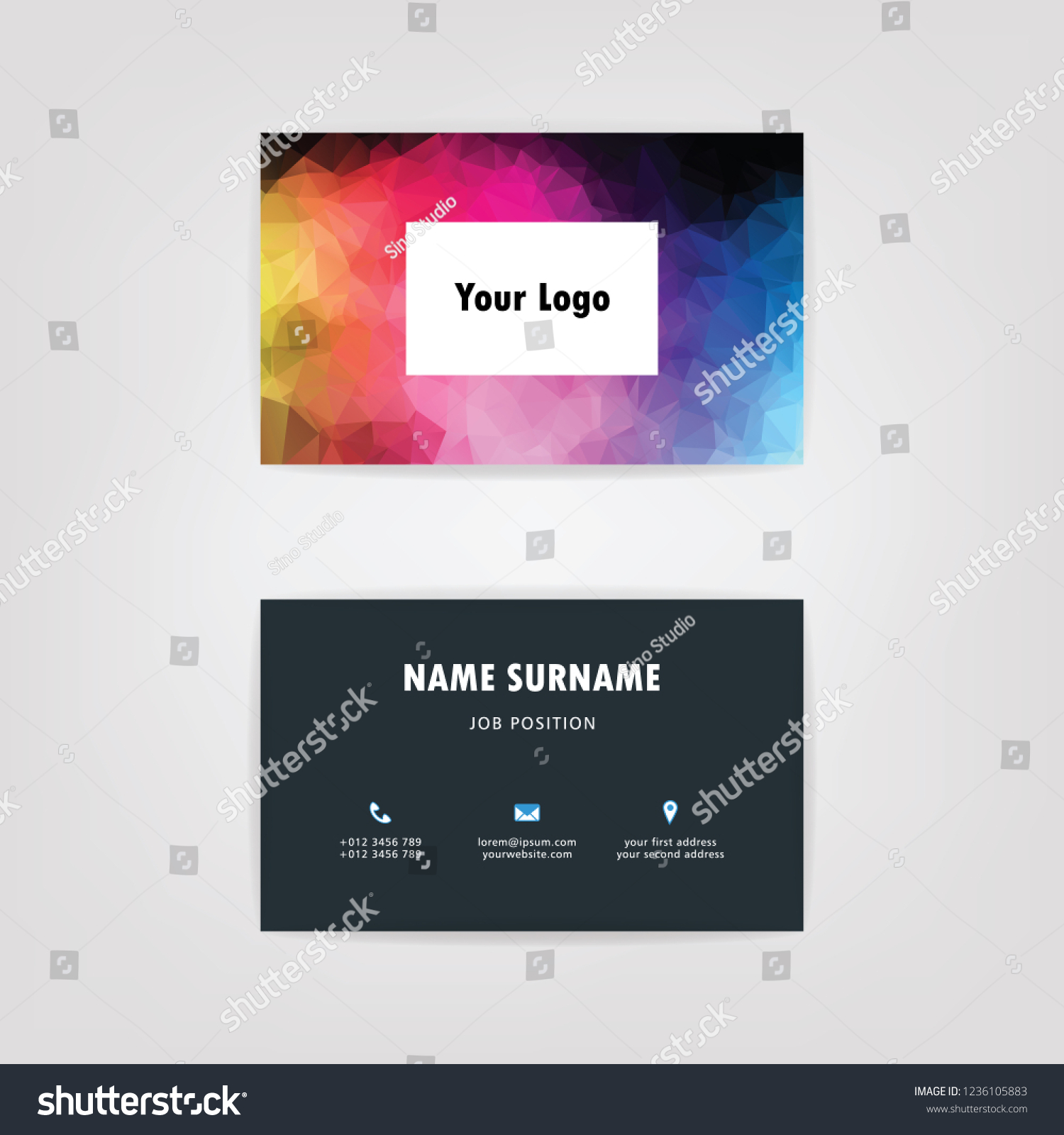 Name Card Low Poly Abstract Background Stock Vector (Royalty Free
