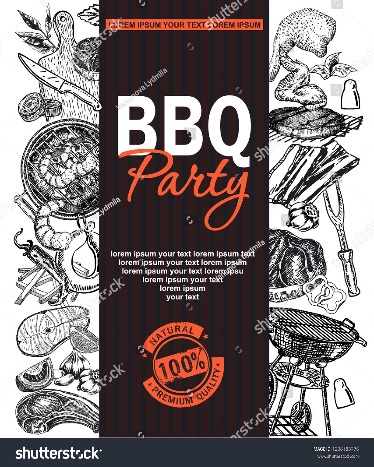 bbq grill restaurant food menu design stock vector royalty free
