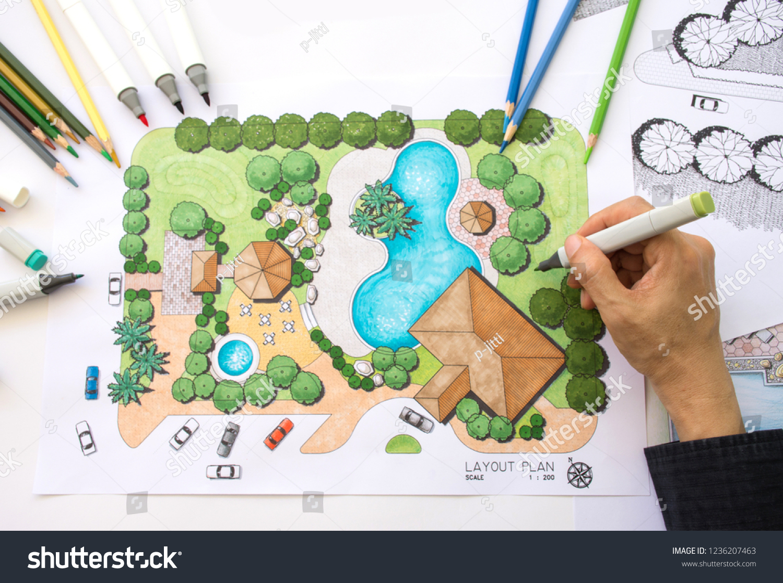 Layout Plan Clubhouse Landscape Design Garden Stock Photo Edit Now 1236207463,Creative Beautiful Landscape Design