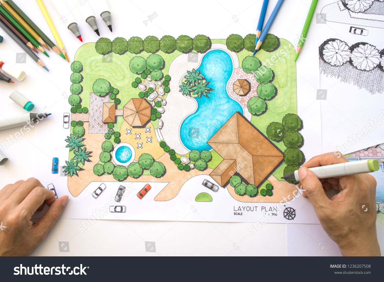 Layout Plan Clubhouse Landscape Design Garden Stock Photo Edit