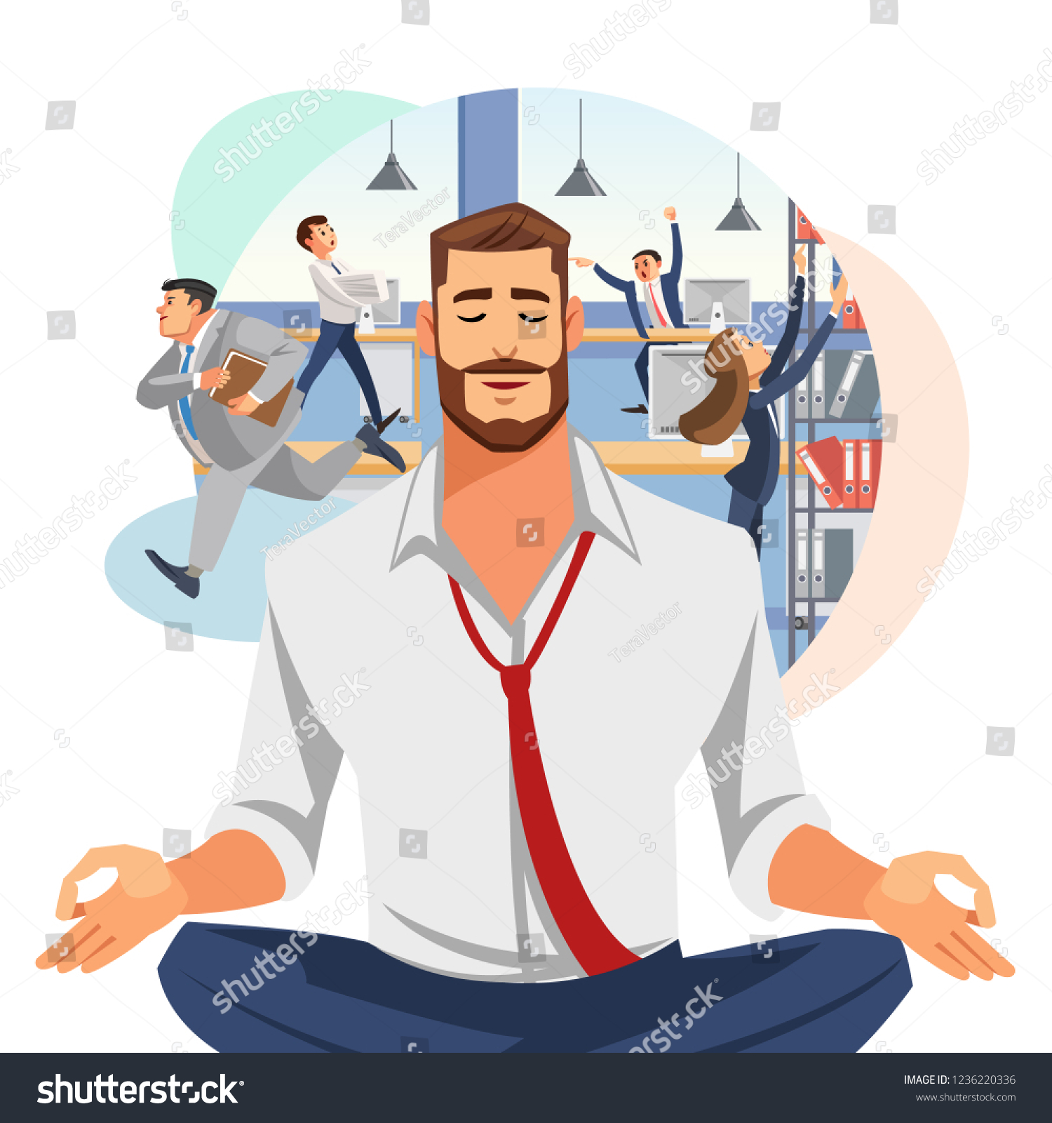Relaxing Stress Relief Workplace Cartoon Vector Stock Vector Royalty Free 1236220336