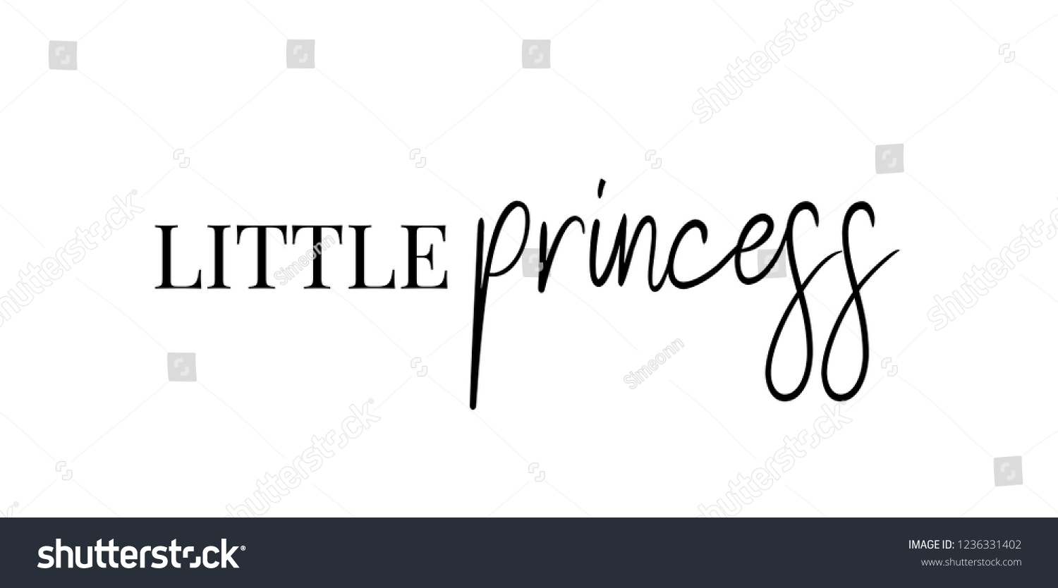 Little Princess Text Quotes Print Vector Stock Vector Royalty Free
