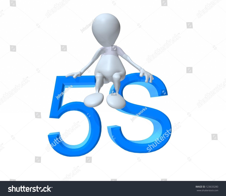 3d Man Sitting On 5s Methodology Stock Illustration