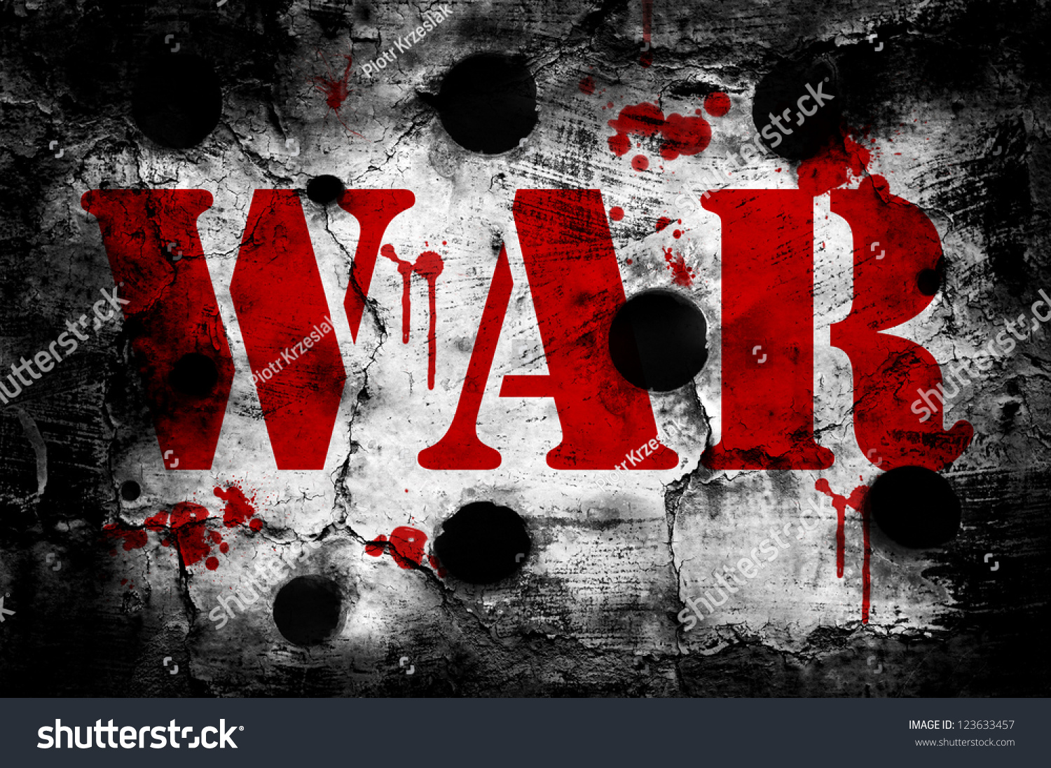 War Word On Old Wall Blood Stock Photo 123633457 ...