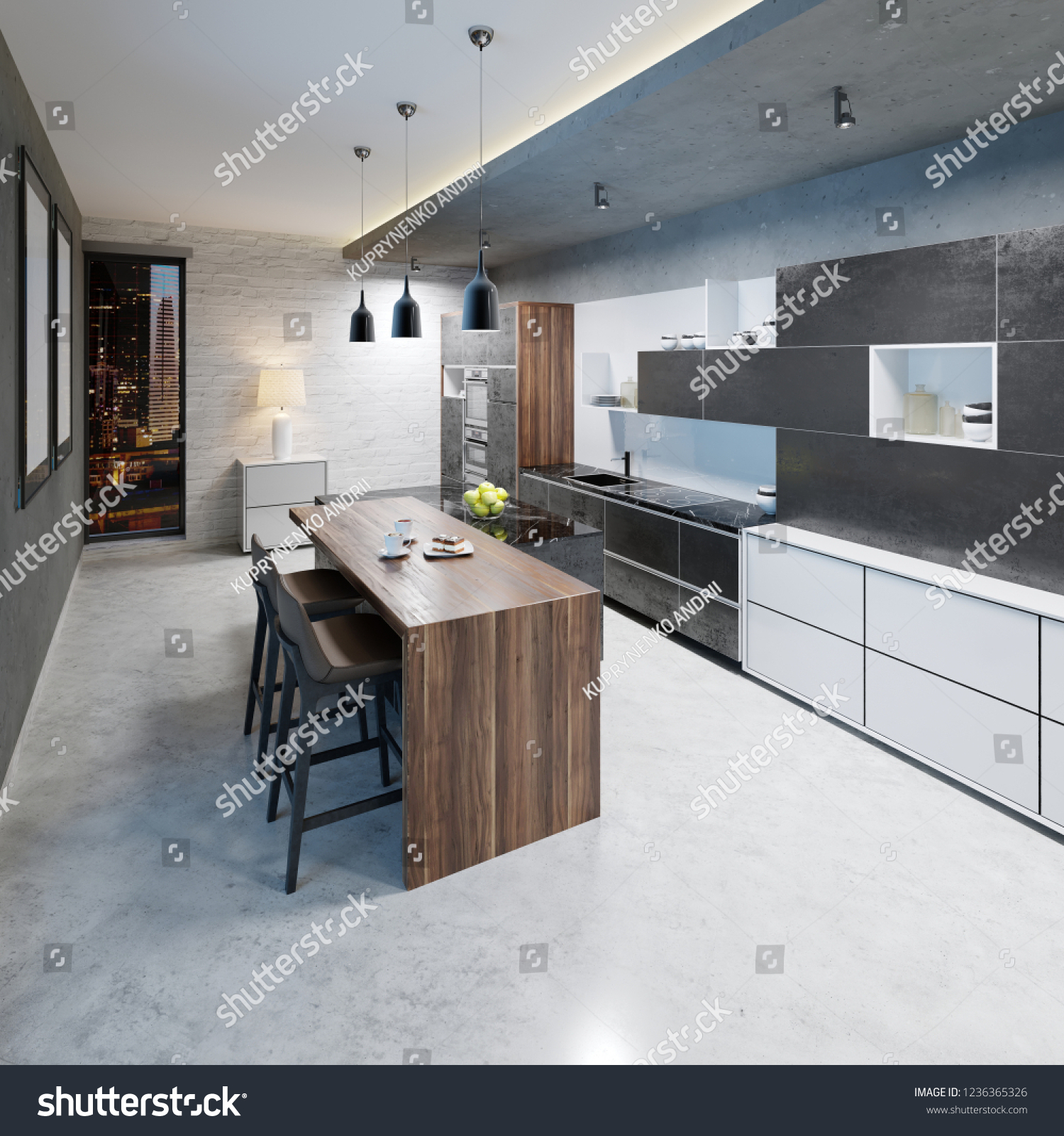 modern kitchen design with a long center island and bar table fitted ...