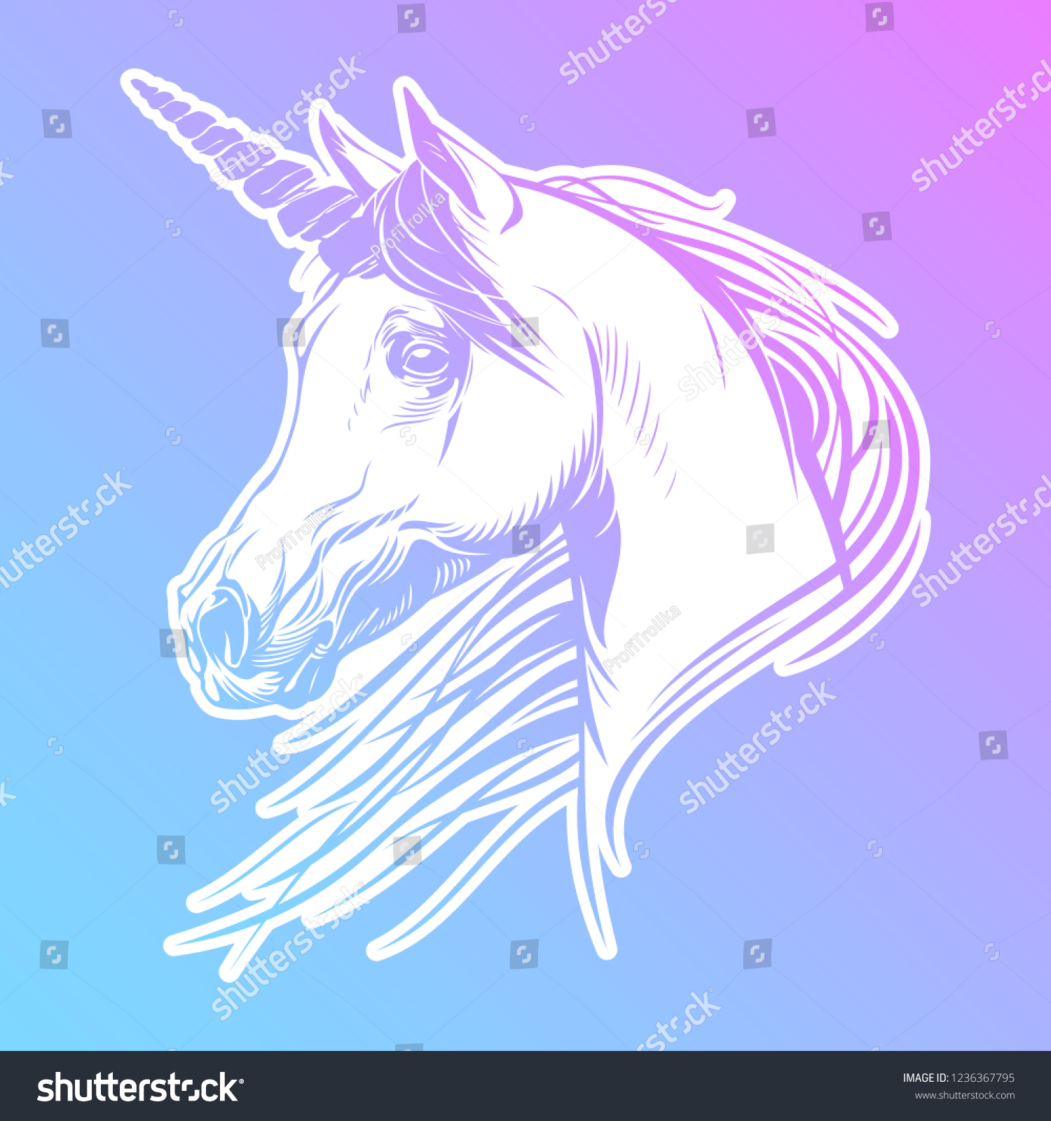 White Unicorn Vector Image Fantasy Horse Stock Vector Royalty Free 1236367795