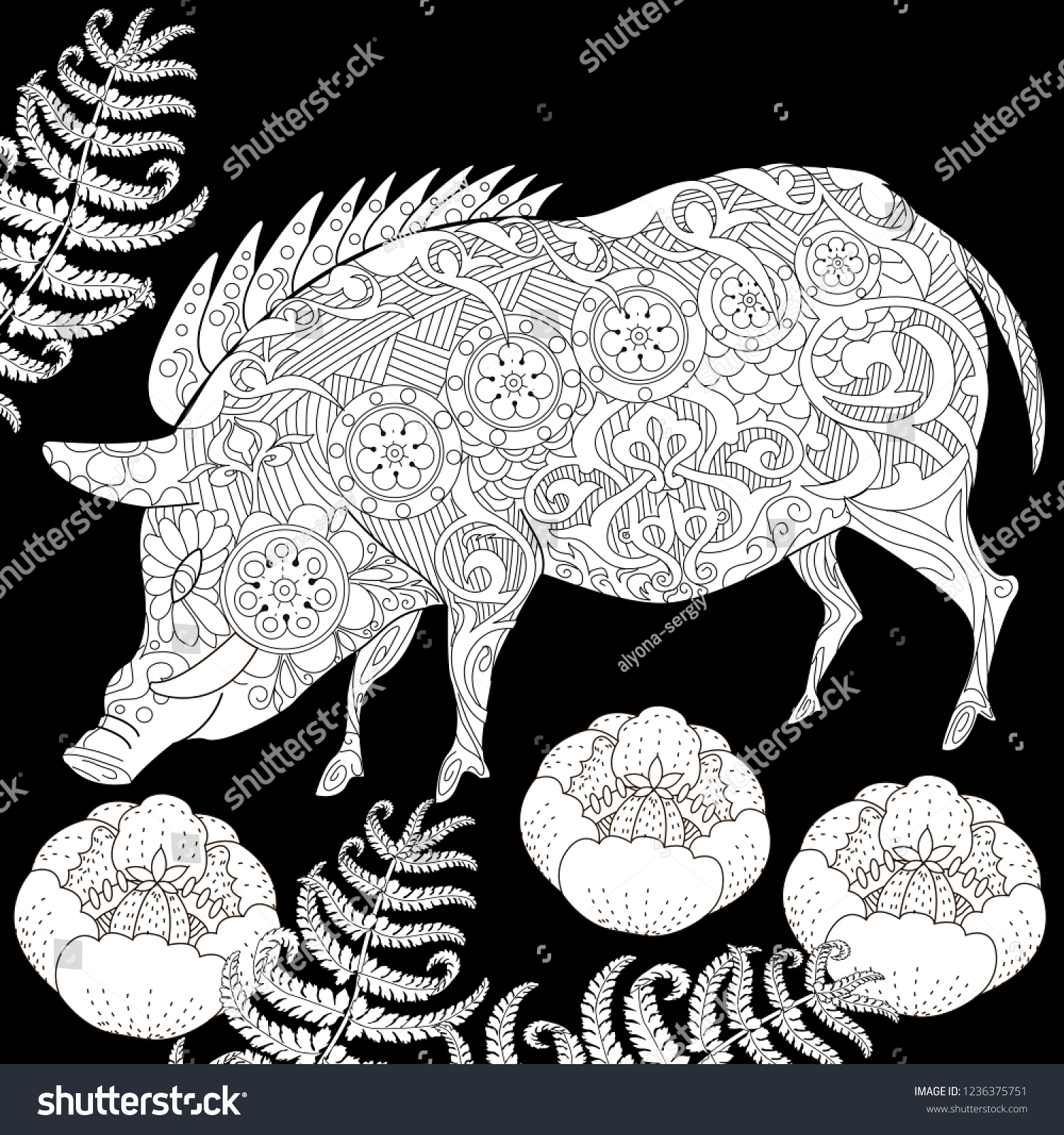 Coloring pages coloring book for adults cute pig 2019 chinese new year symbol