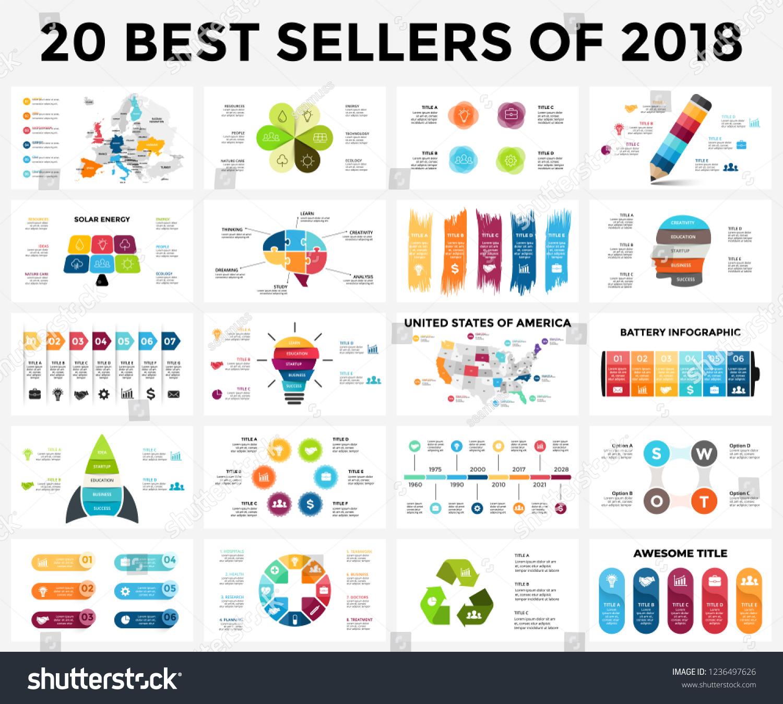 best infographic templates 2018 presentation slides stock vector
