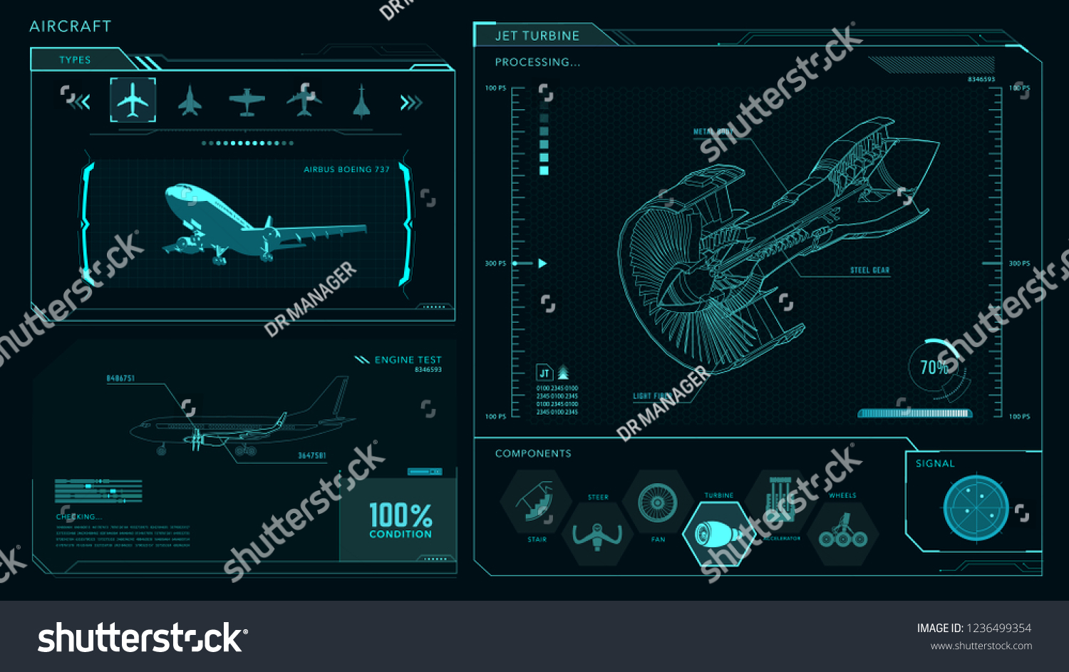 Turbine Airplane Engine Interface Vector Drawing Stock Diagram Of A Model
