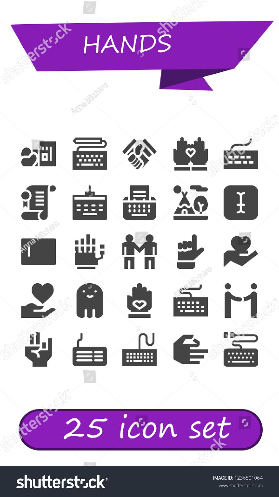Vector Icons Pack 25 Filled Hands เวกเตอร์สต็อก (ปลอดค่า