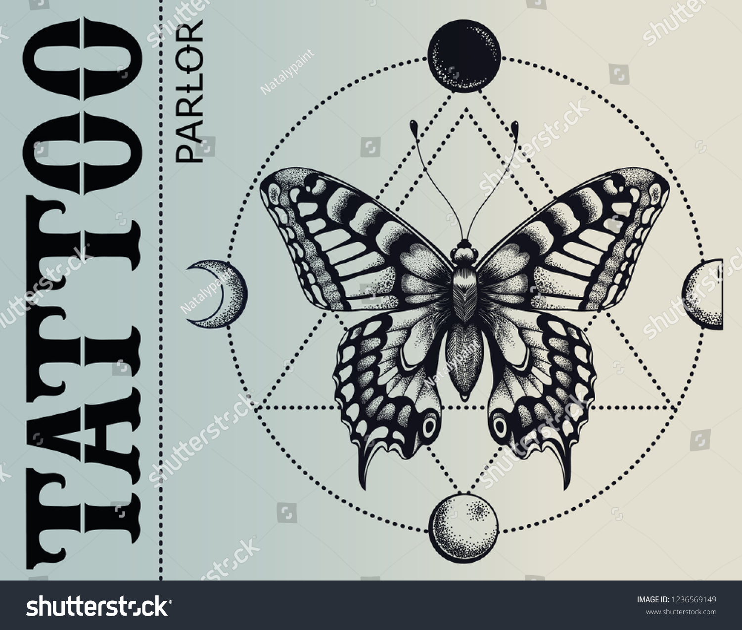 d1ee2baa4 Tattoo parlor banner. Mistical butterfly is inscribed in circle of moon  phases. Vector banner.
