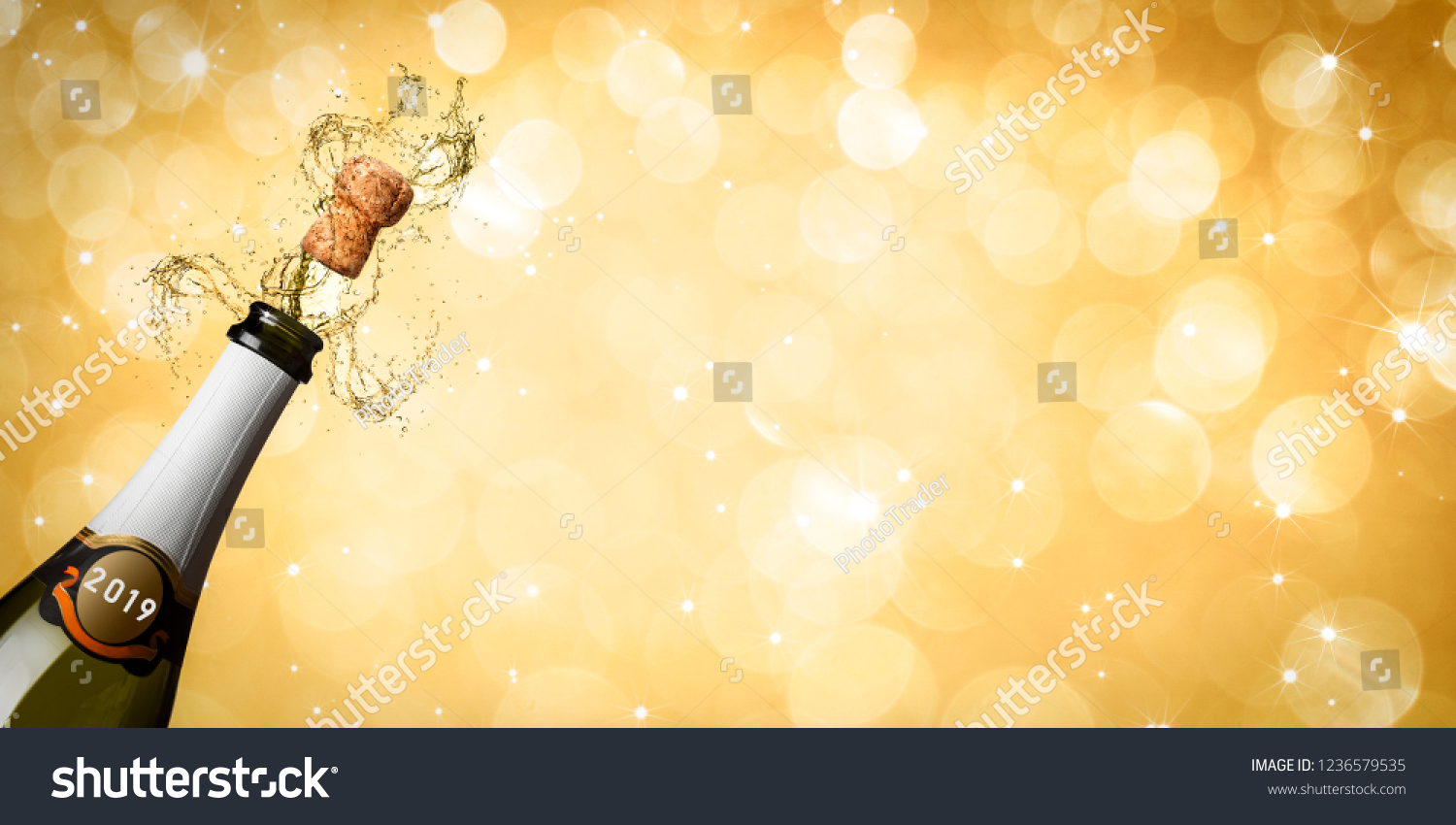 new year eve 2019 banner champagne explosion golden background