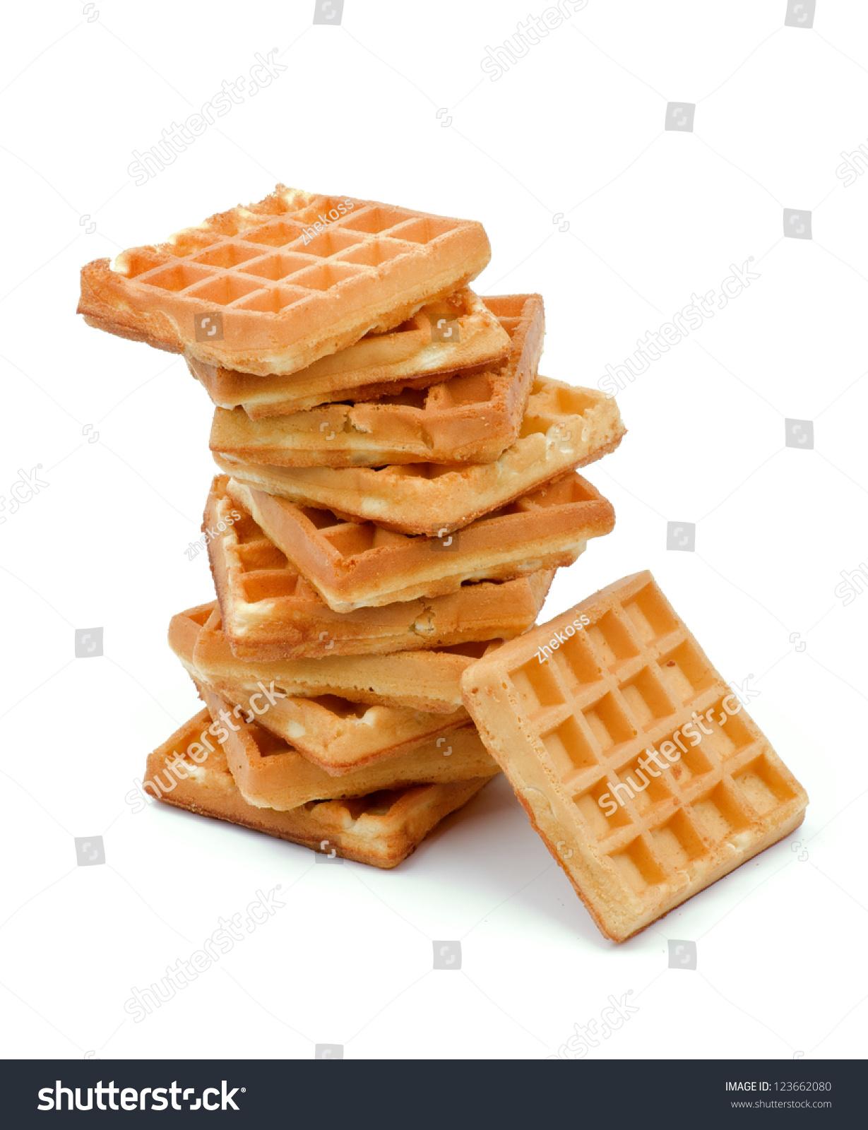 Stack Delicious Belgian Waffle Isolated On Stock Photo (Edit