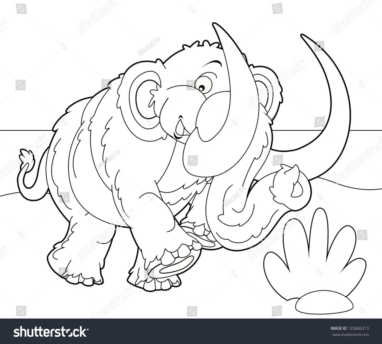coloring page mammoth illustration children stock illustration