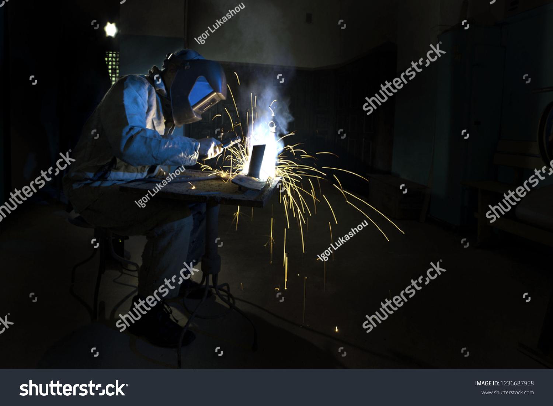 Welder Welds Electric Arc Welding Dark Stock Photo (Edit Now