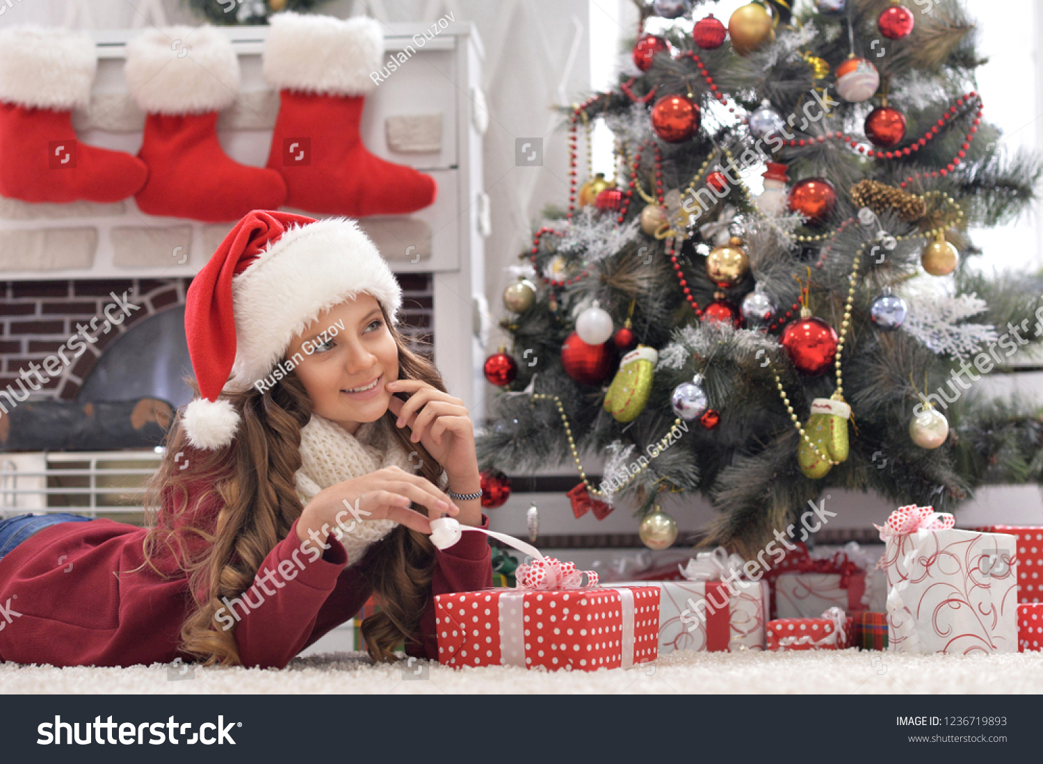 Cute Christmas Gifts For Teenage Girls.Happy Cute Teenage Girl Christmas Present Stock Photo Edit