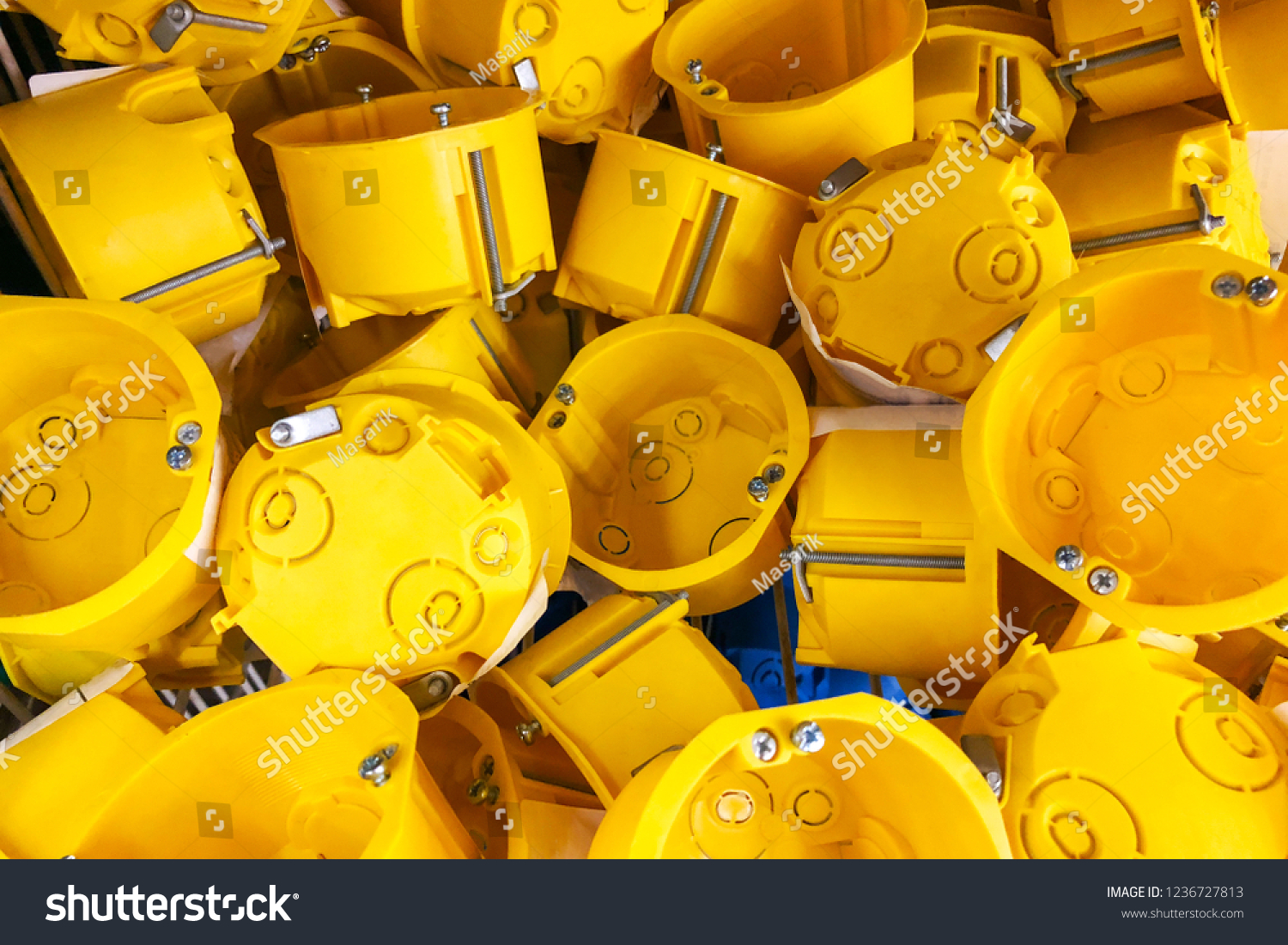 Yellow Outlet Box Electric Socket Domestic Stock Photo Edit Now Wiring Metal For Of Electrical In The Shop Window On Sale
