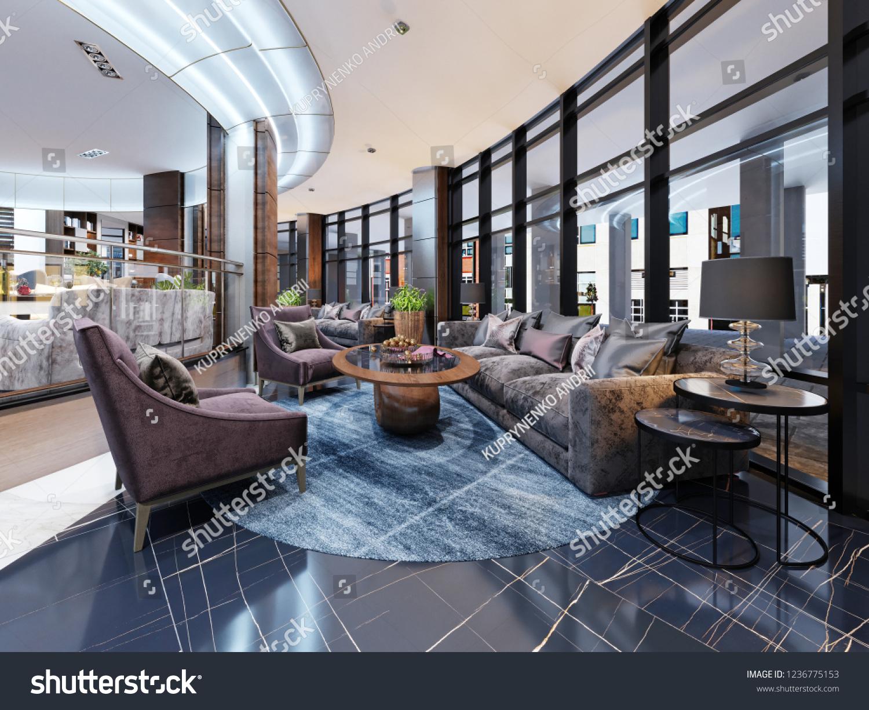 Contemporary Hotel Interior Design Hotel Lobby Stock