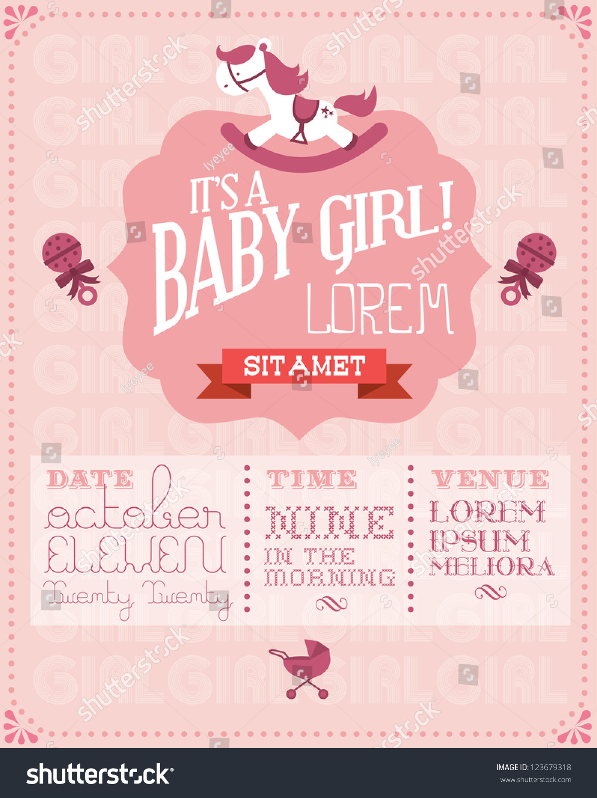 stock vector baby girl baby shower invitation card template vector