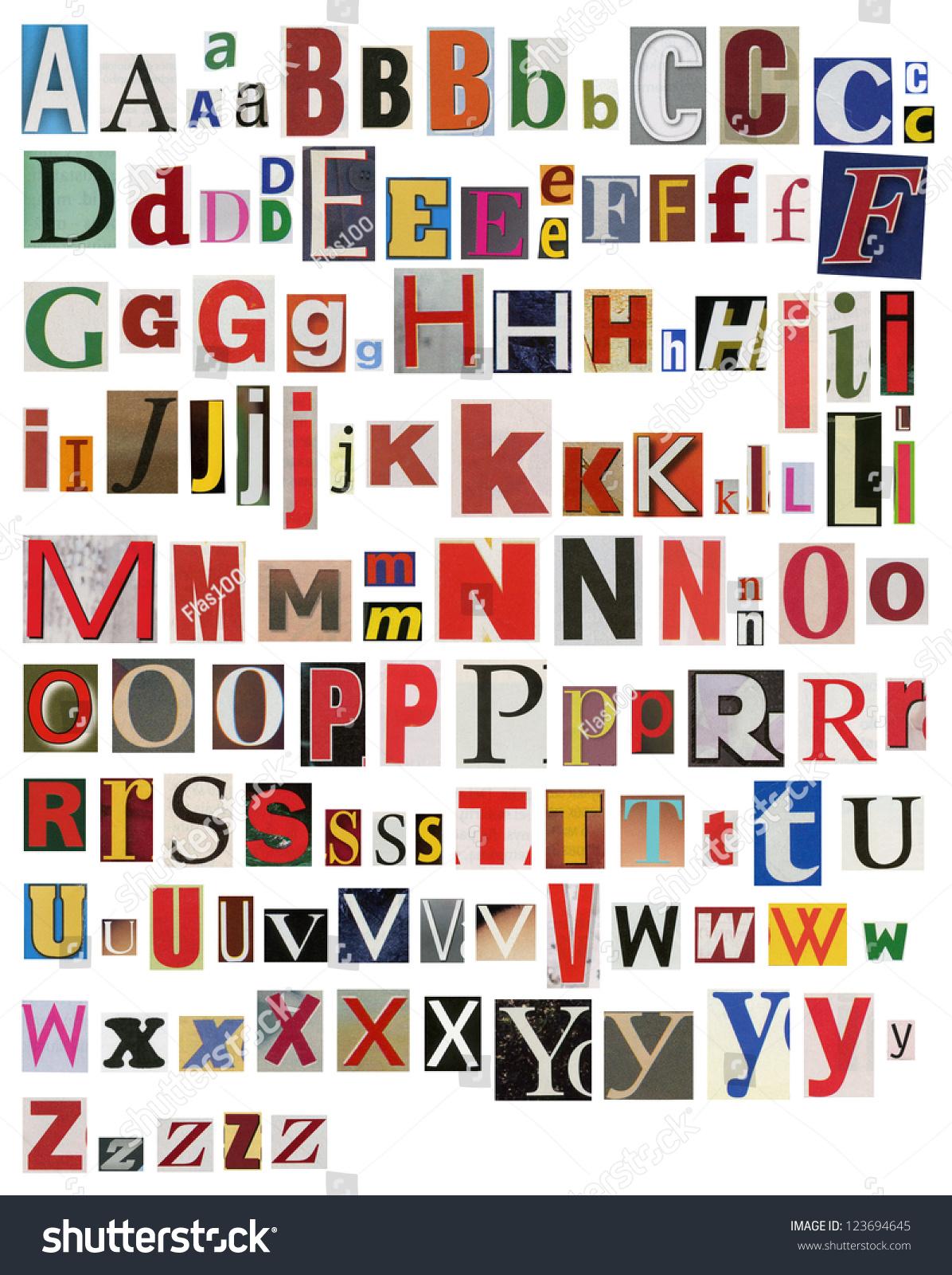 colorful newspaper magazine alphabet stock photo 123694645