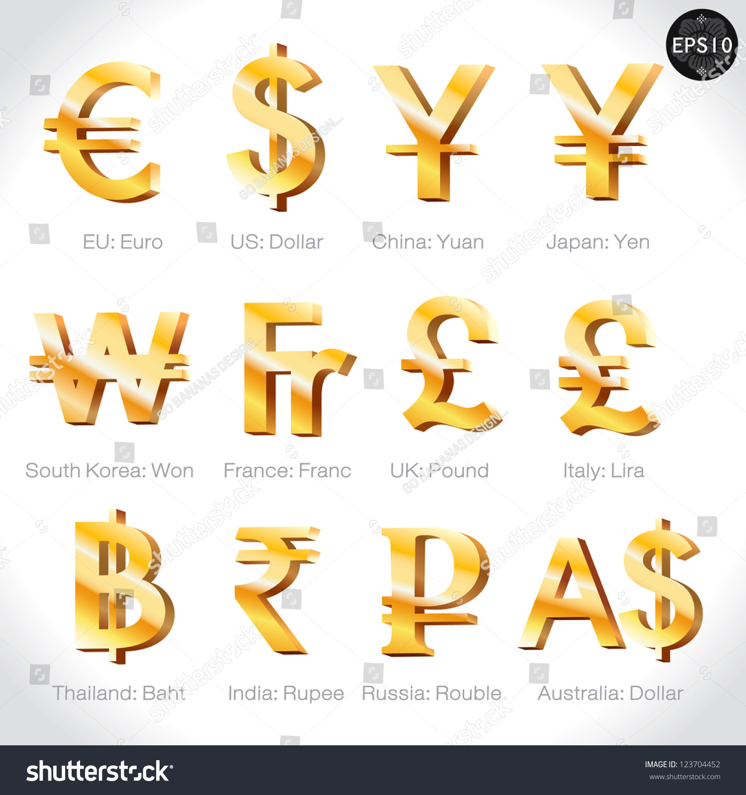 Royalty free currency signs dollar euro yen 123704452 stock currency signs dollar euro yen yuan wonfrancpoundlira baht rupee rouble pound vector money symbol stock photo biocorpaavc