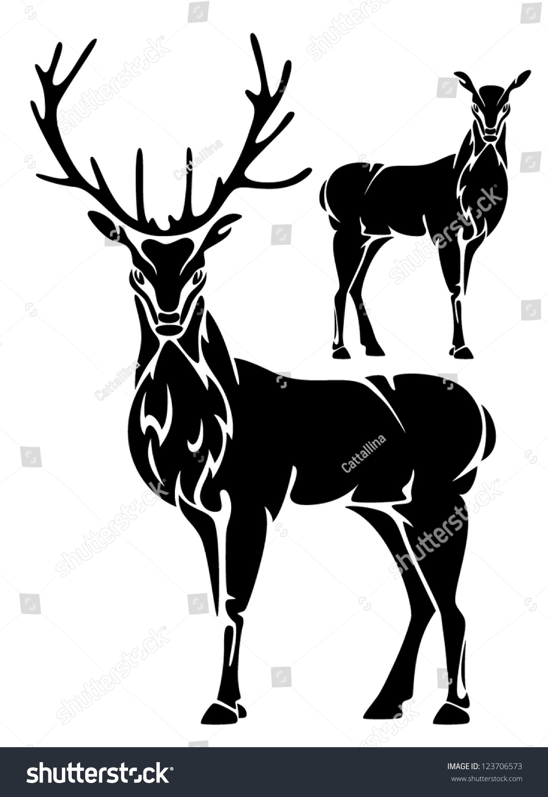 Deer illustration black and white - photo#6