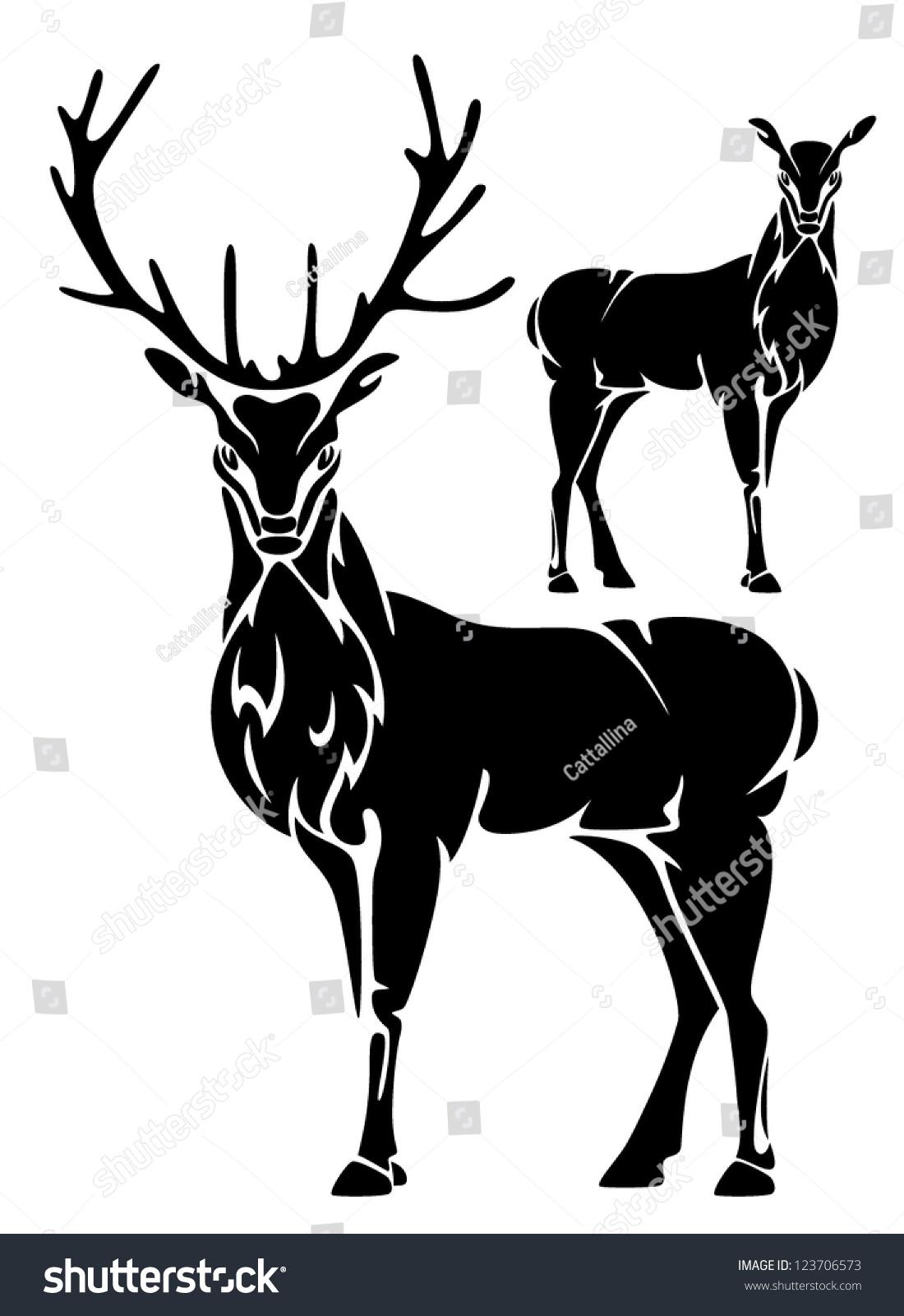 Deer illustration black and white - photo#6