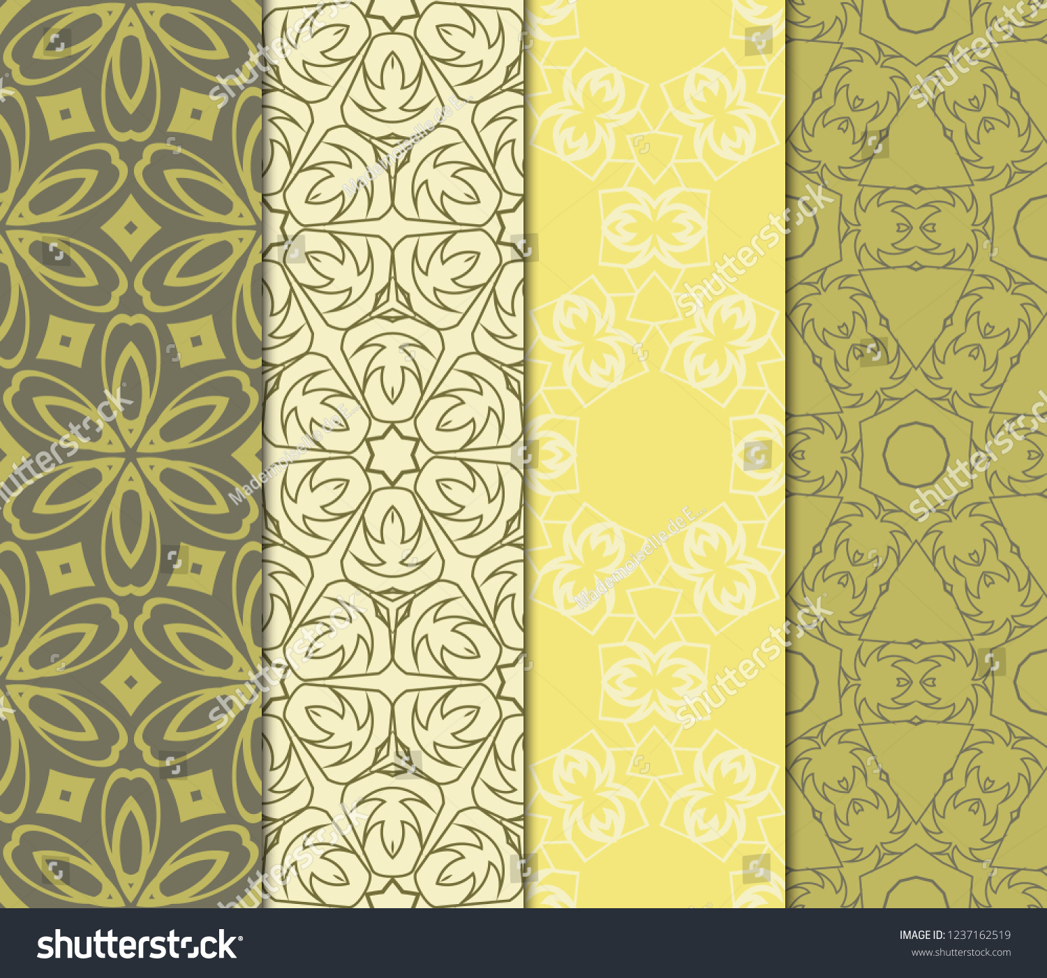 Set Modern Floral Seamless Pattern Decorative Stock Vector