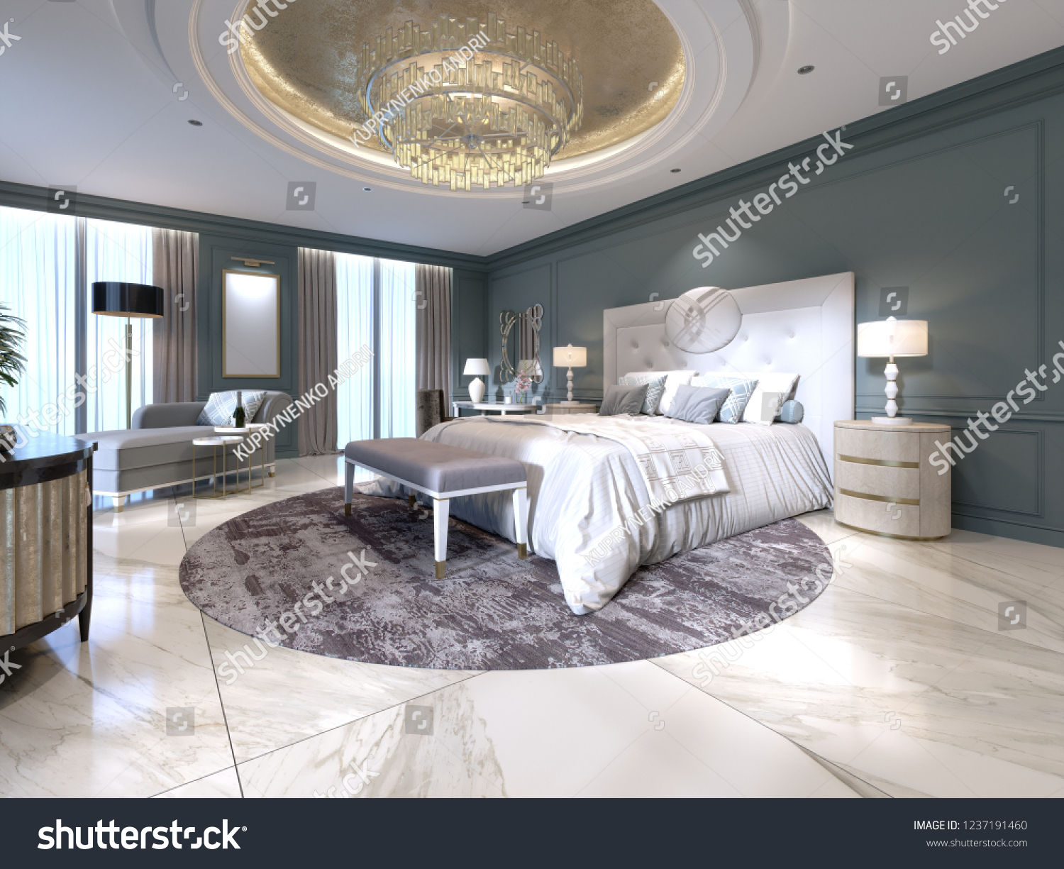 The modern design of the bedroom with a large white bed and a stool with a dressing table nearby dark walls light furniture white marble floor