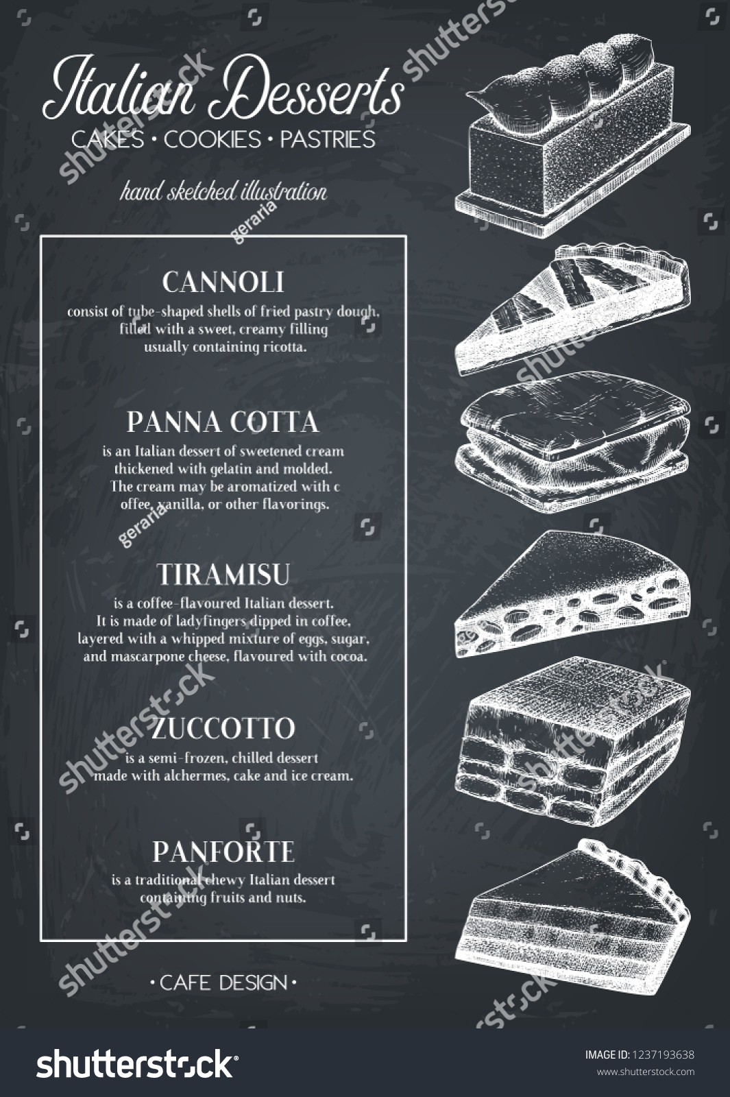 italian desserts menu design hand drawn stock vector (royalty free