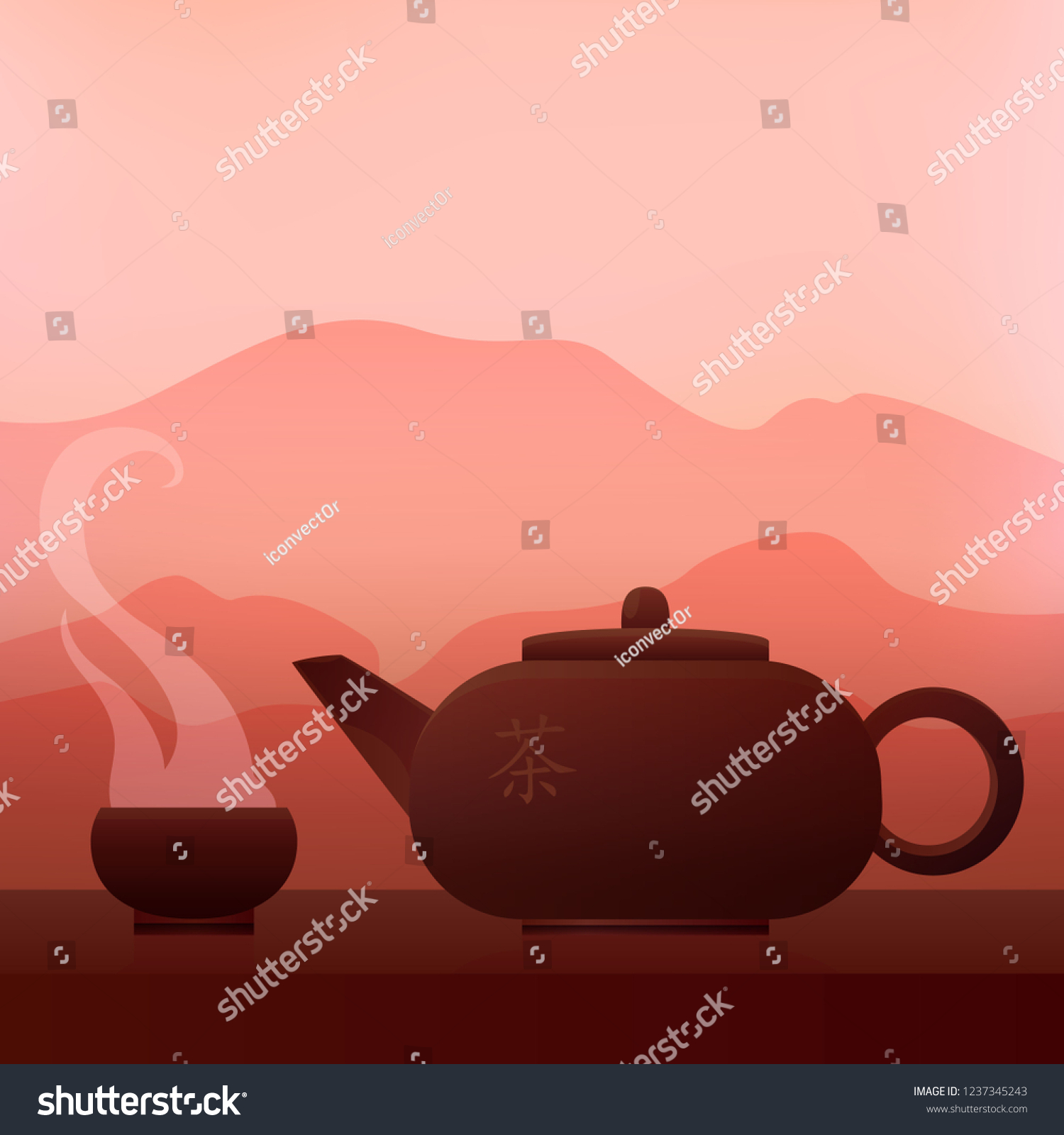 Asian Vector concept.Teapot of fresh tea on natural background.cup of tea  and