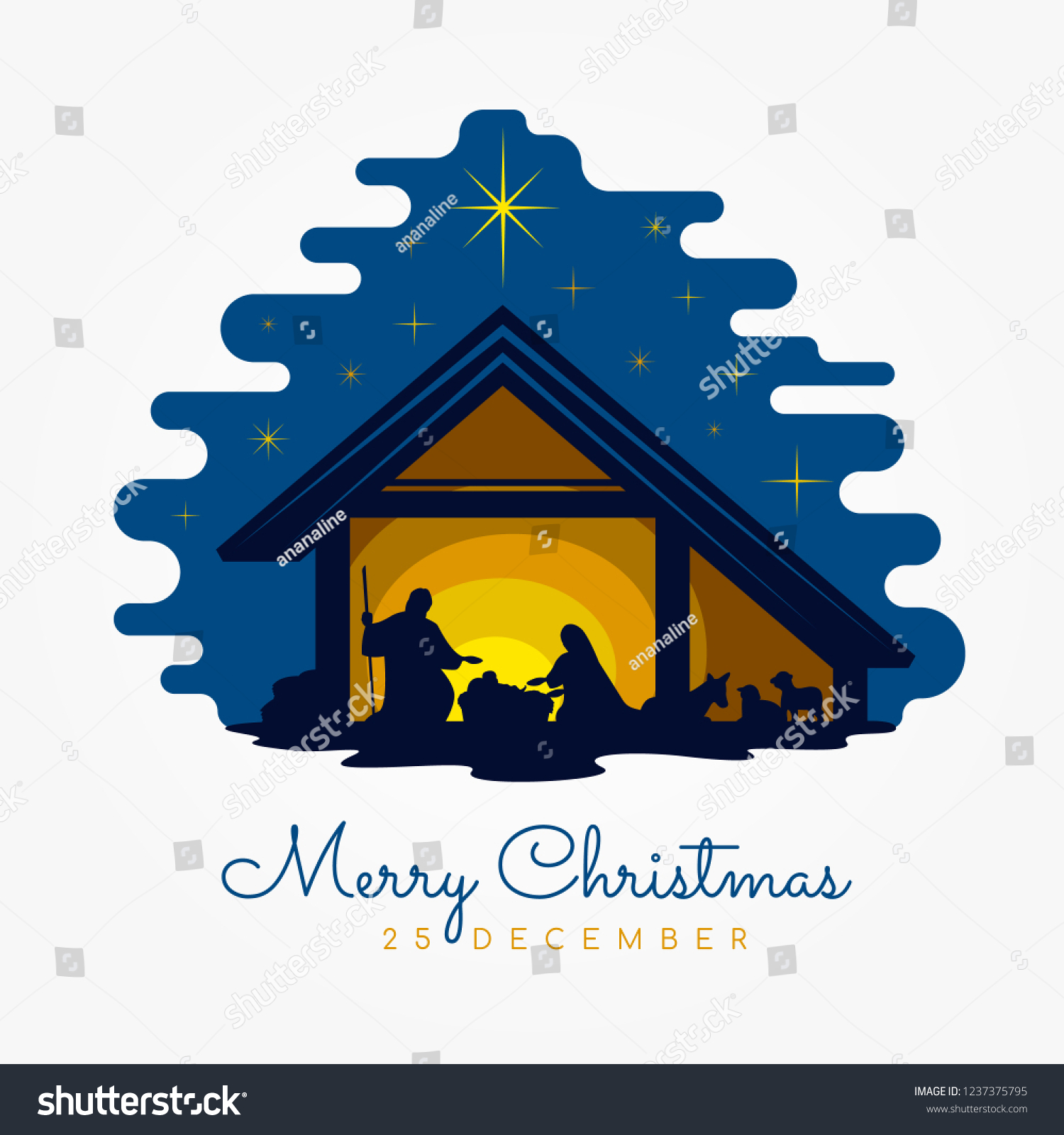 Merry Christmas Banner Sign Nightly Christmas Stock Vector Royalty