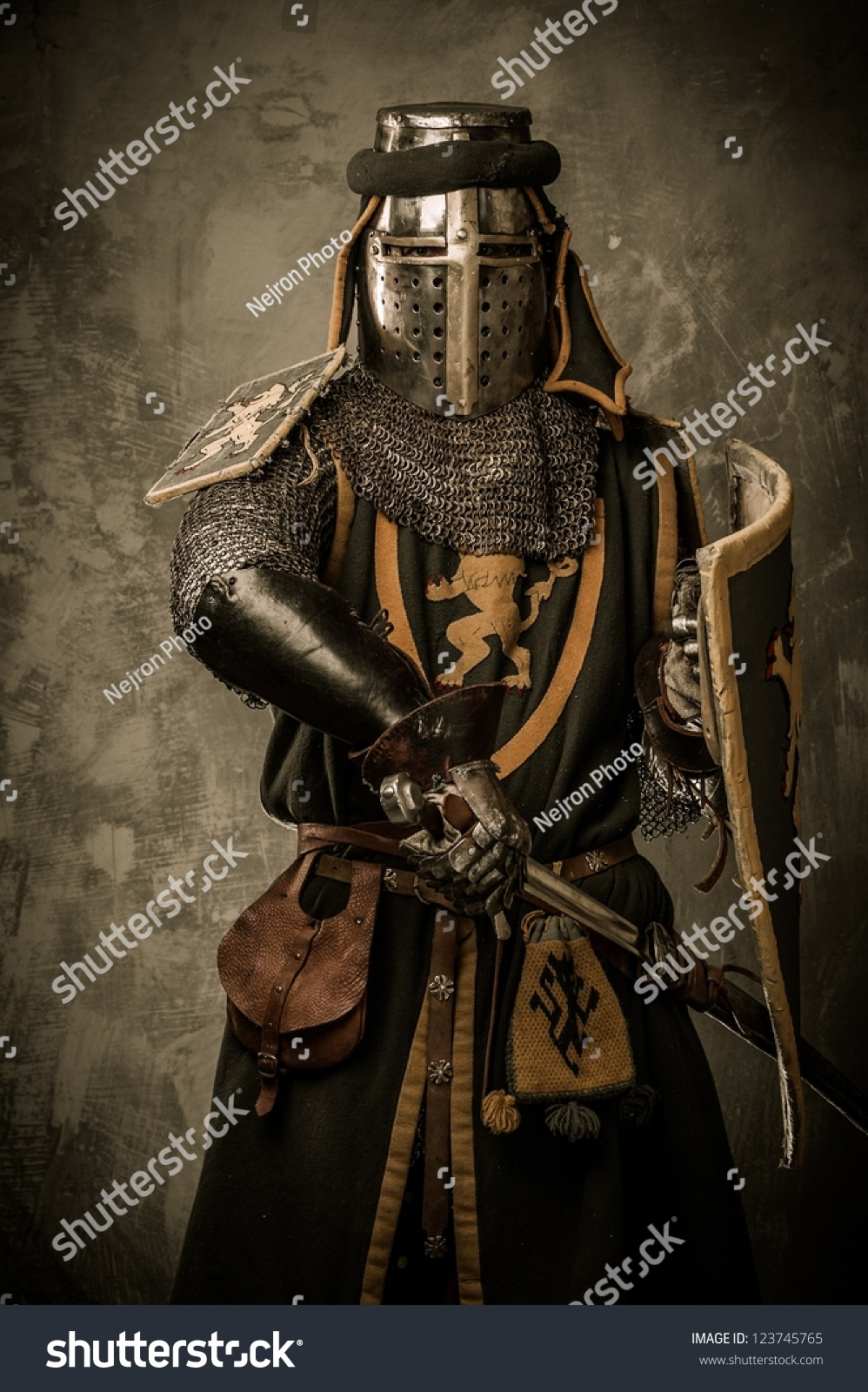 Knight With Sword And Shield Stock Image - Image of coat ... |Knight Sword And Shield