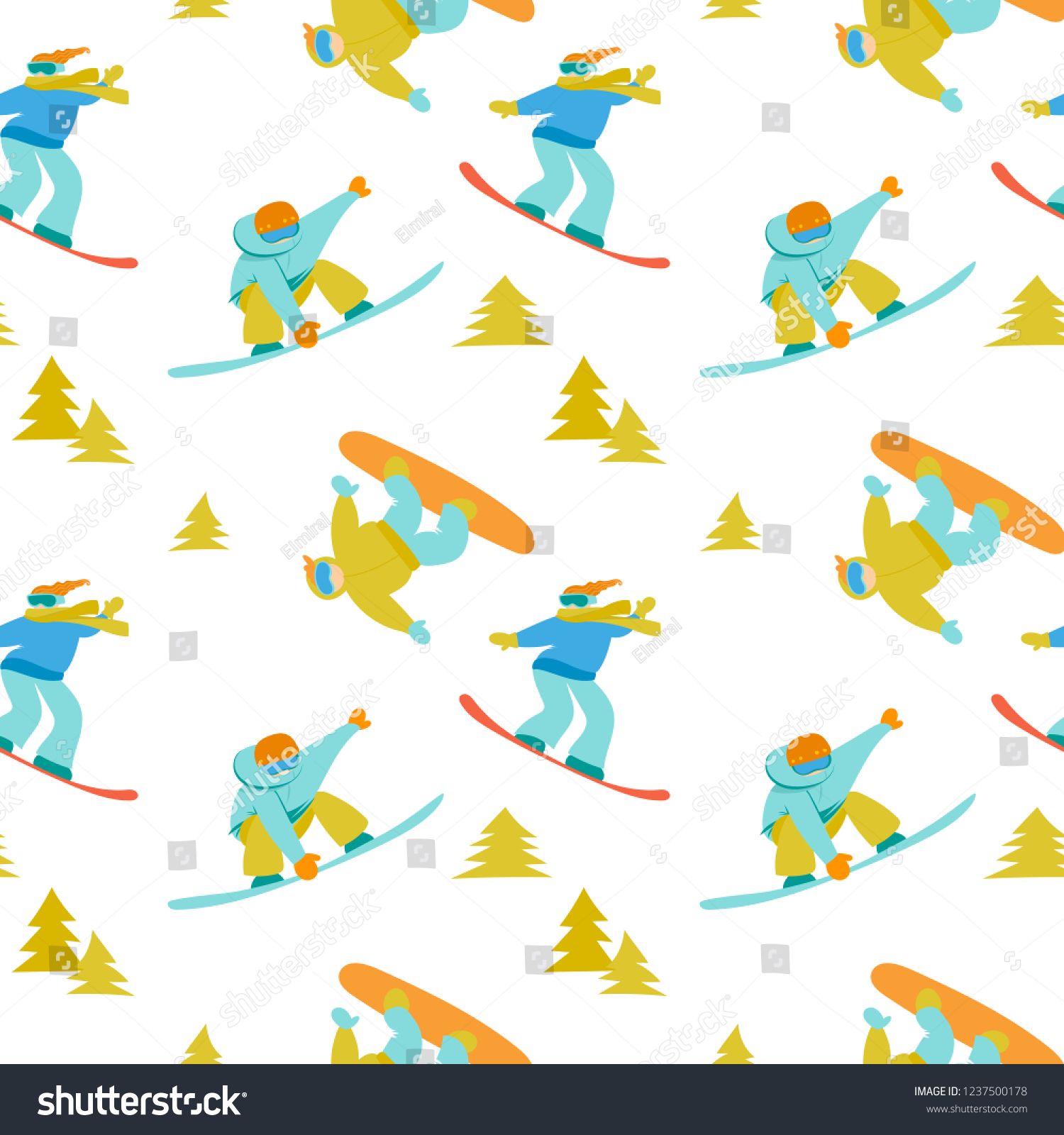 Christmas Sports Background.Snowboard Active Sports Background Snowboarders Vector Stock
