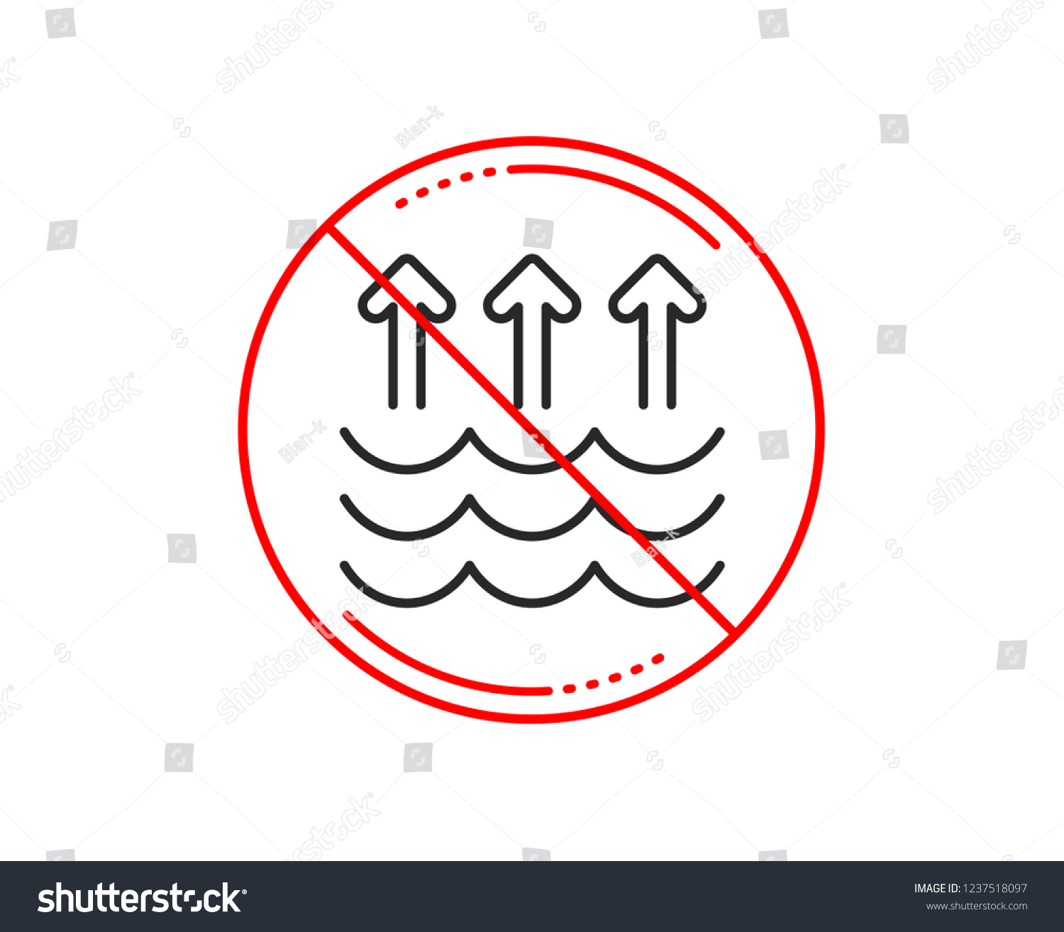 No Stop Sign Evaporation Line Icon Stock Vector (Royalty