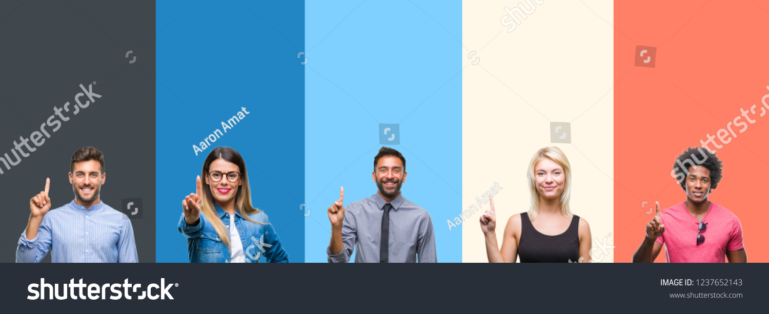 Collage of group of young people over colorful vintage isolated background showing and pointing up with finger number one while smiling confident and happy.