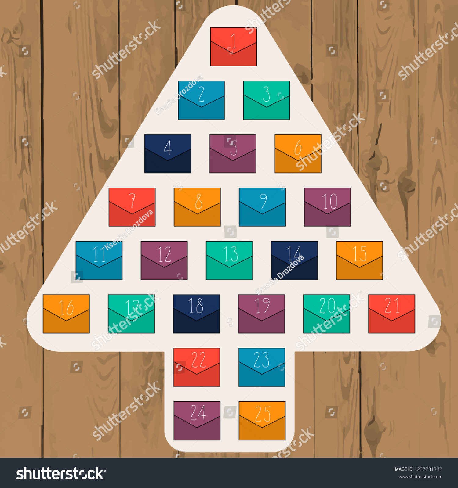 Abstract Christmas Tree With Colorful Envelopes On Wood Background Advent Calendar