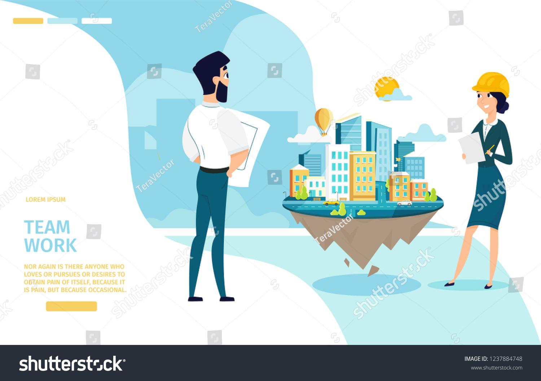 Team work cartoon vector horizontal web stock vector royalty free
