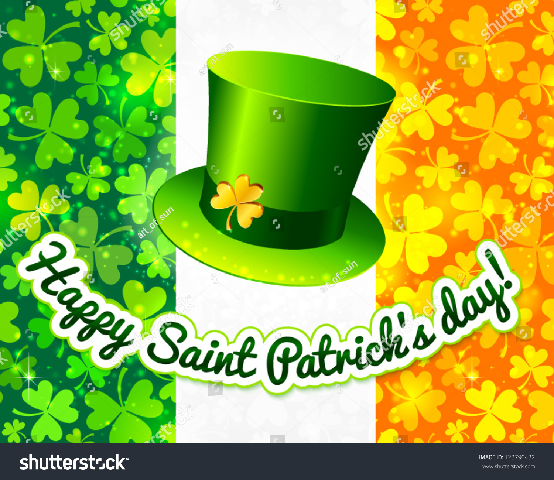 Saint Patricks Hat On Irish Flag Stock Vector 123790432 Shutterstock