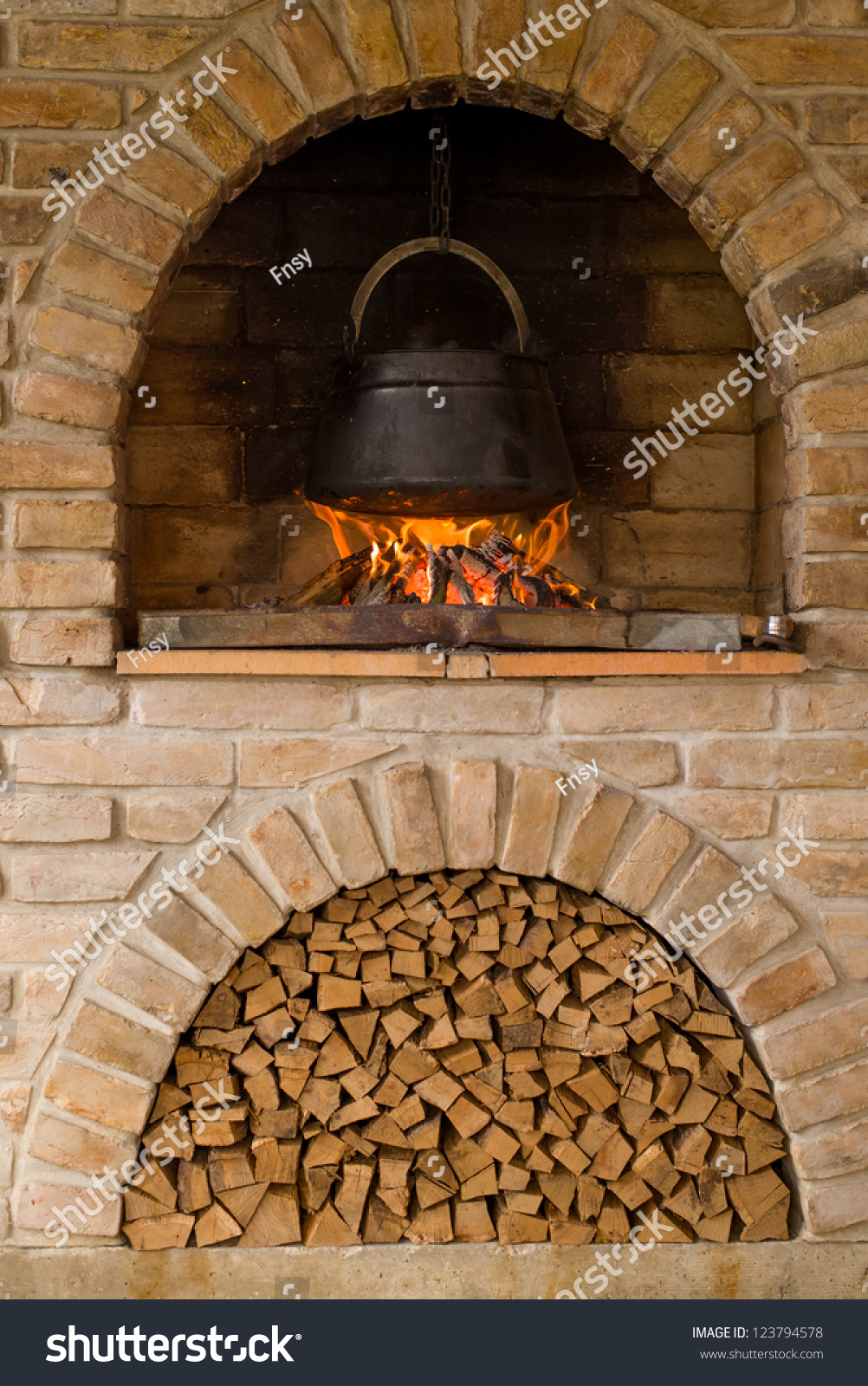 outdoor cooking barbecue fireplace kettle boiling stock photo