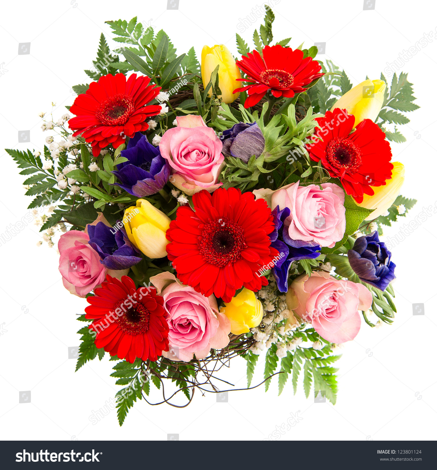 Fresh Colorful Spring Flowers Bouquet Pink Stock Photo Royalty Free