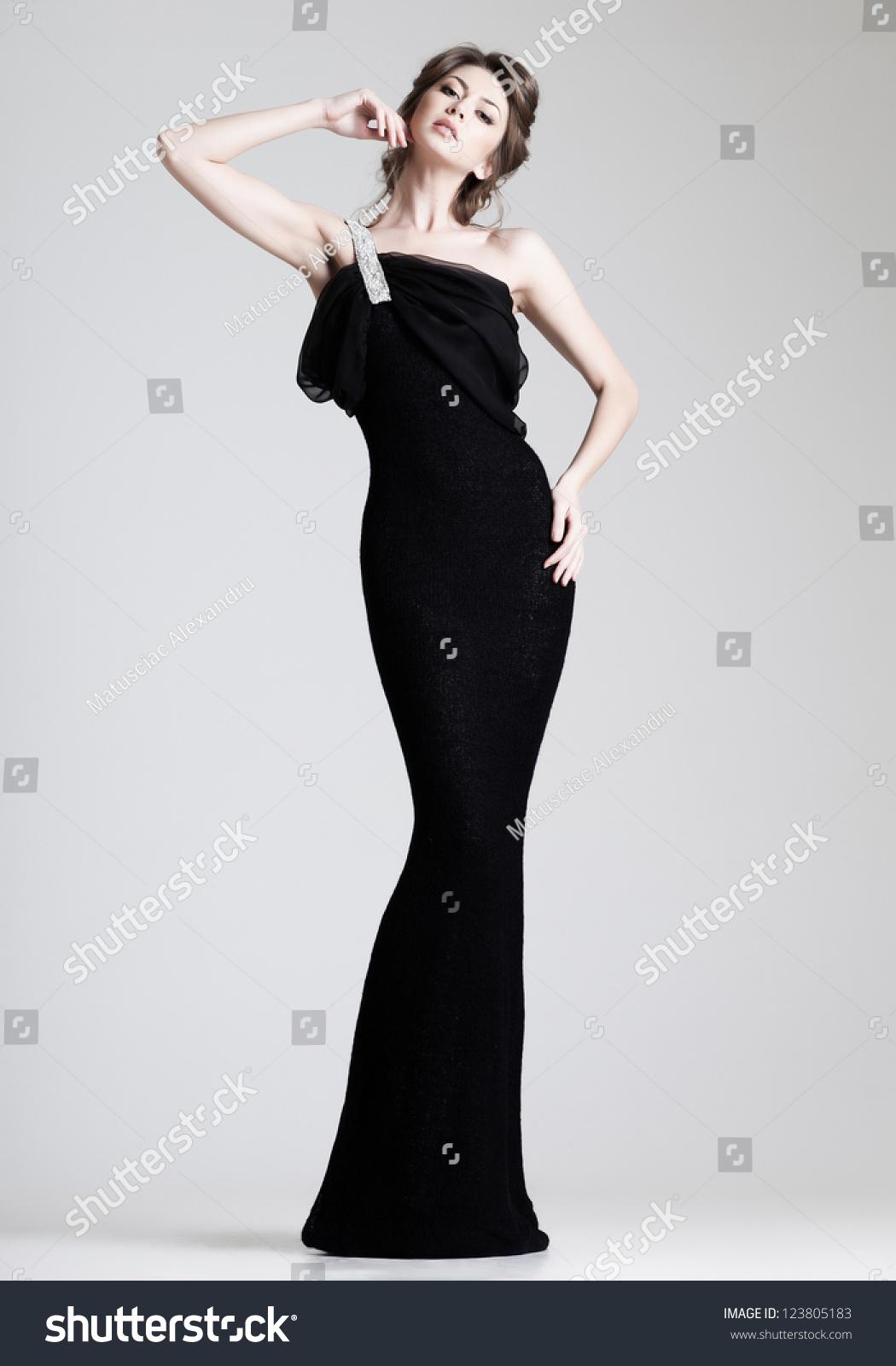 Beautiful Woman Model Posing Elegant Dress Stock Photo (Edit Now ...