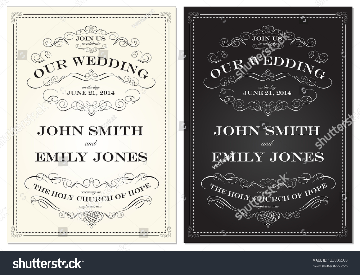 Picture Frame Wedding Invitations: Vector Old Fashioned Wedding Frame Set. Easy To Edit