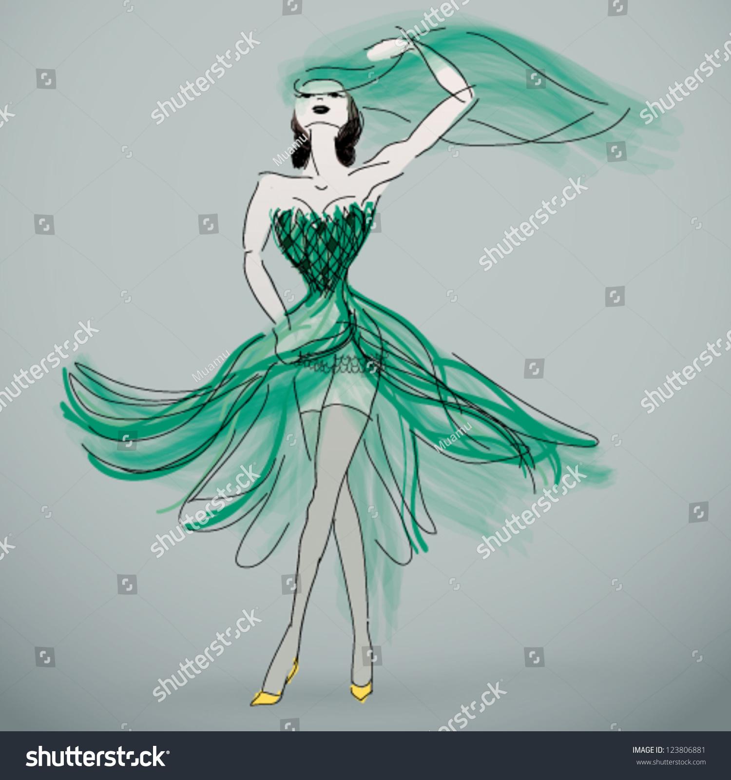 Woman Green Wedding Dress Fashion Sketch Stock Vector 123806881 ...
