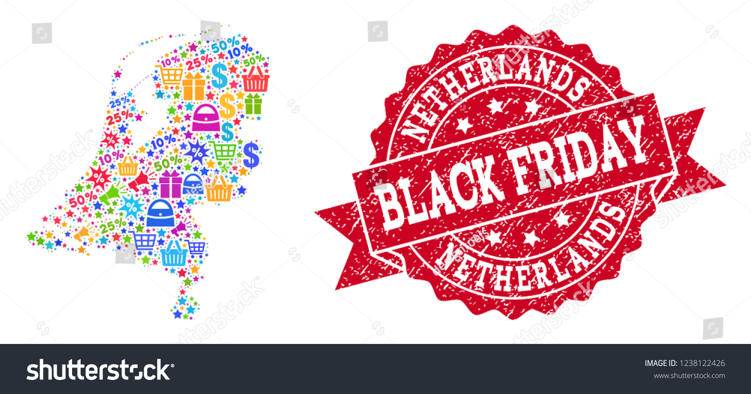 Black Friday Composition Mosaic Map Netherlands Stock Vector Royalty Free 1238122426