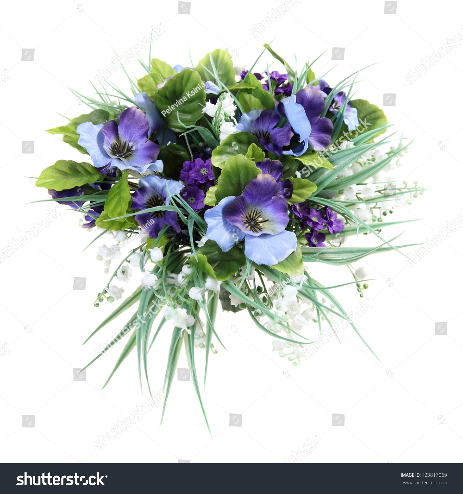 Bouquet Artificial Flowers Lily Valley Viola Stock Photo Edit Now